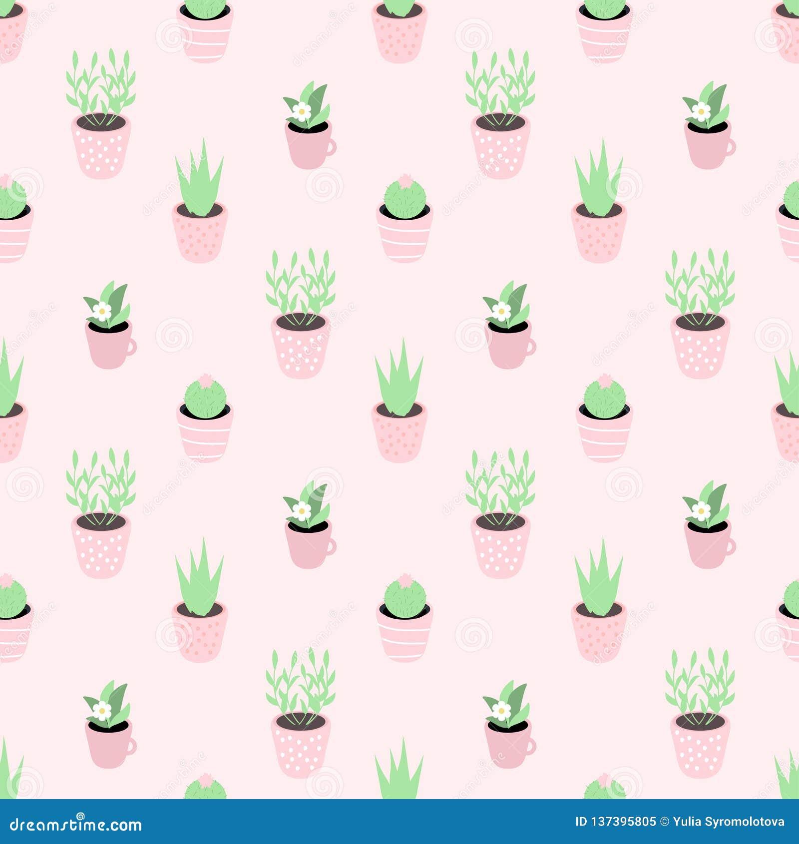 Bezszwowy wektoru wzór z ślicznymi doniczkowymi roślinami na różowym tle Doskonalić dla opakunkowego papieru, tło, etc,