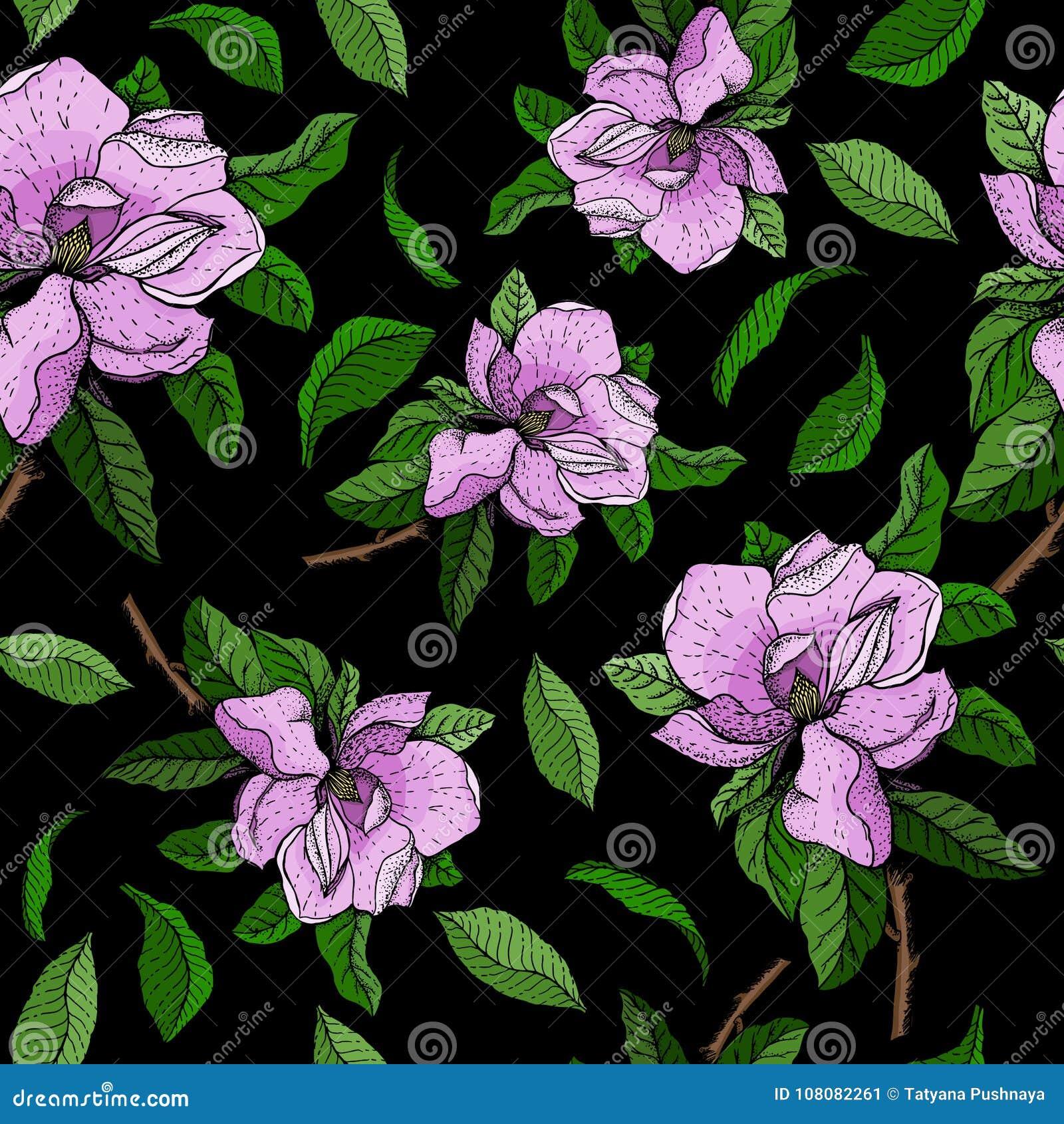 Bezszwowy wektoru wzór z gałąź menchia kwiaty i zieleni liście magnolia