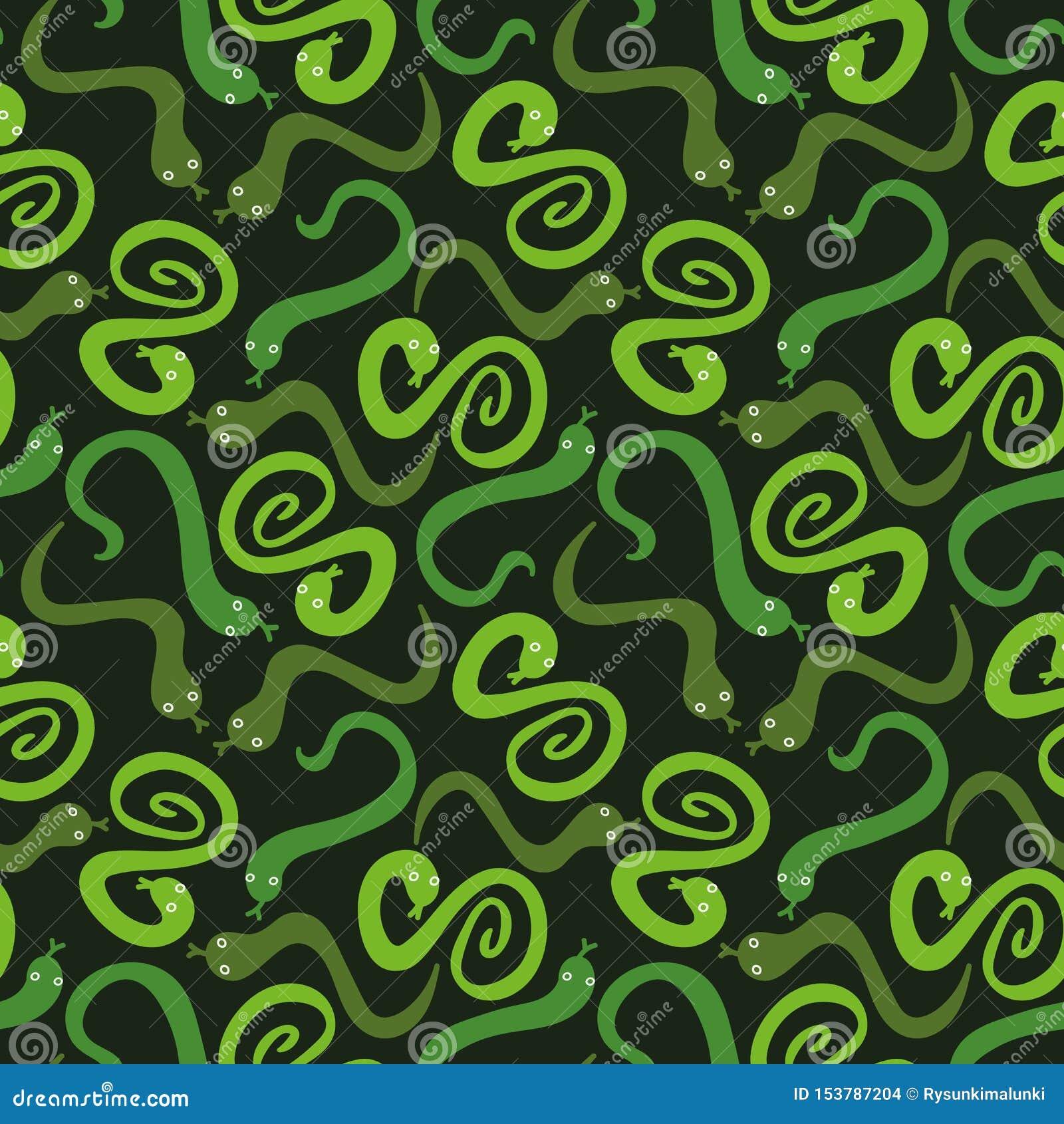 Bezszwowy wektoru wzór z zielonymi wężami rozpraszał na ciemnym tle