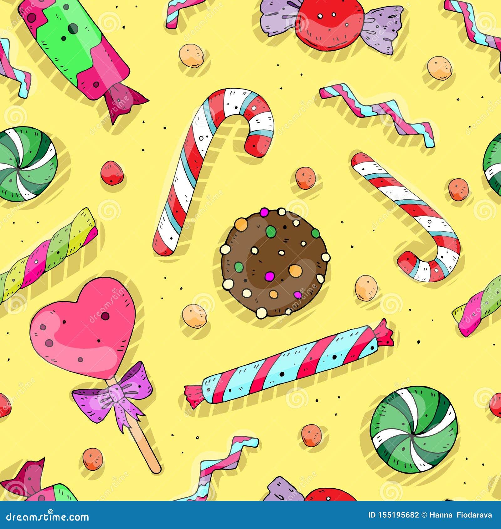 Bezszwowy wielostrzałowy wakacje wzór z ślicznymi barwionymi cukierkami wektor