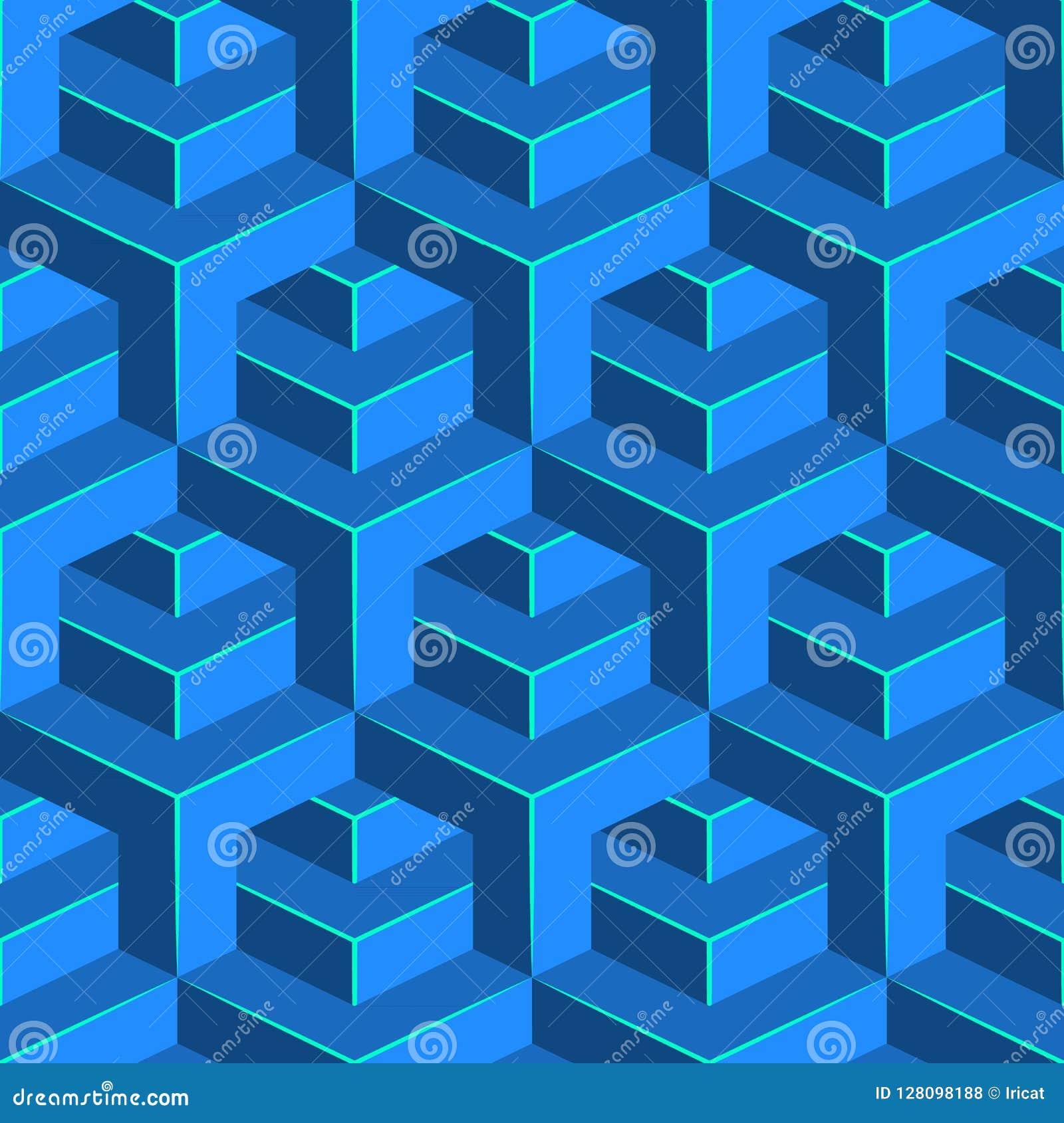 Bezszwowy wolumetryczny wzór Isometric geometryczny tło Glansowany sześcianu ornament