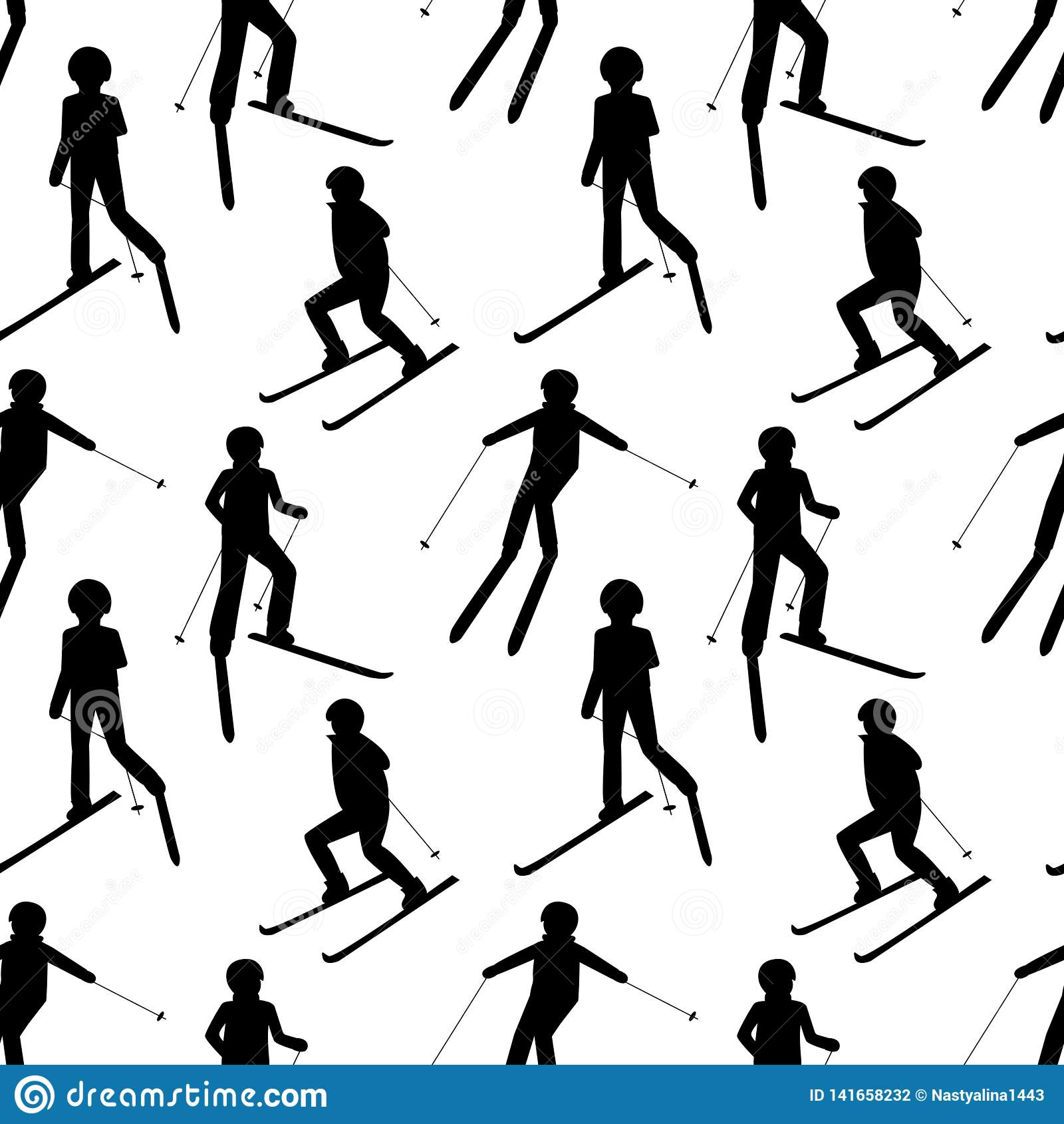 Bezszwowy wzór z czarnymi sylwetkami narciarstw ludzie: mężczyzna; kobieta; dziecko Zima sporta gry