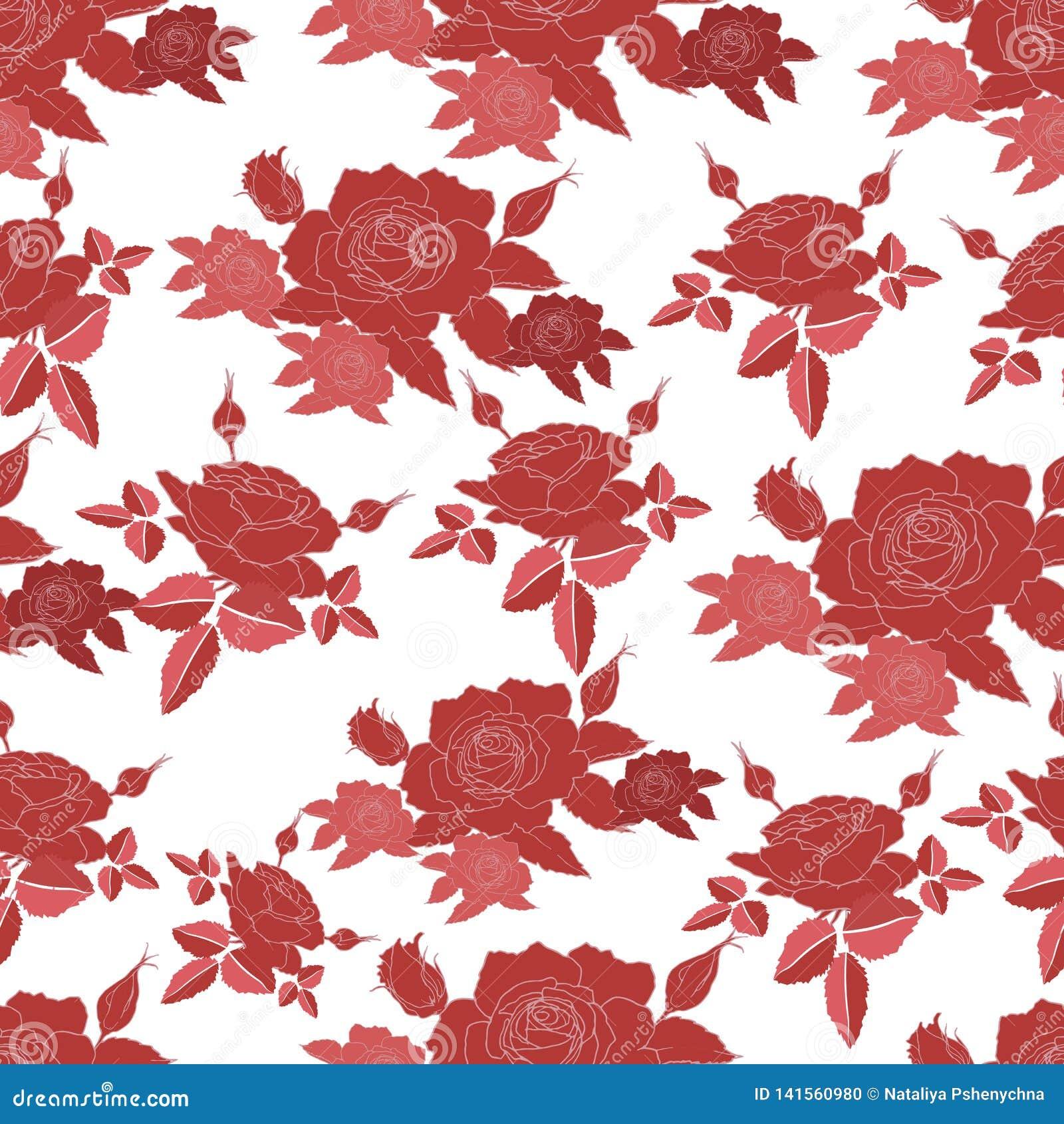 Bezszwowy wzór z stylizowanymi róża kwiatami