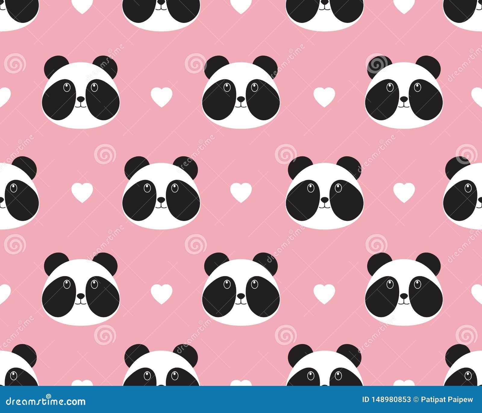 Bezszwowy wzór śliczna pandy twarz z sercem