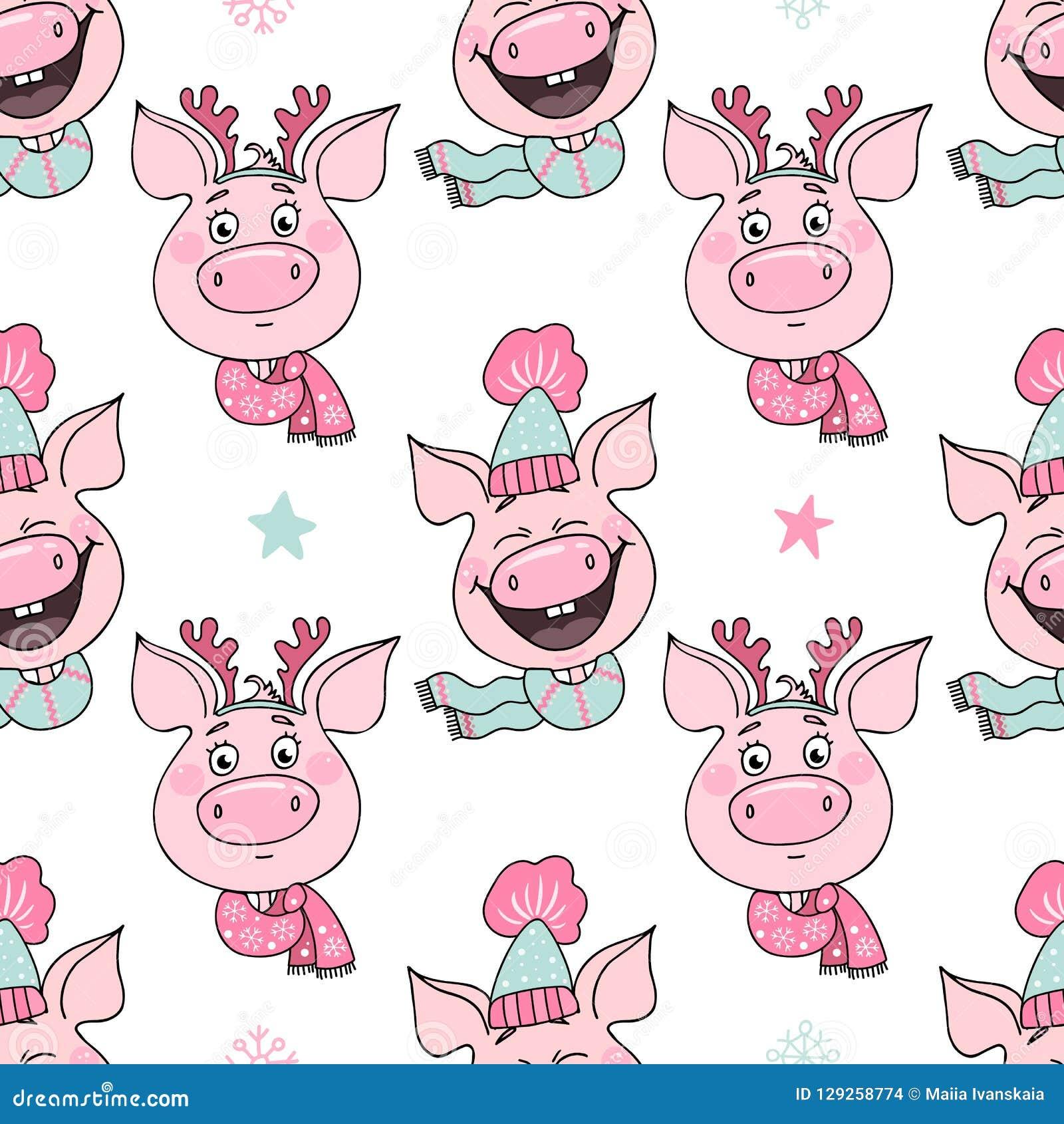 Bezszwowy wzór śmieszne świnie z emocjami radość i zawstydzenie