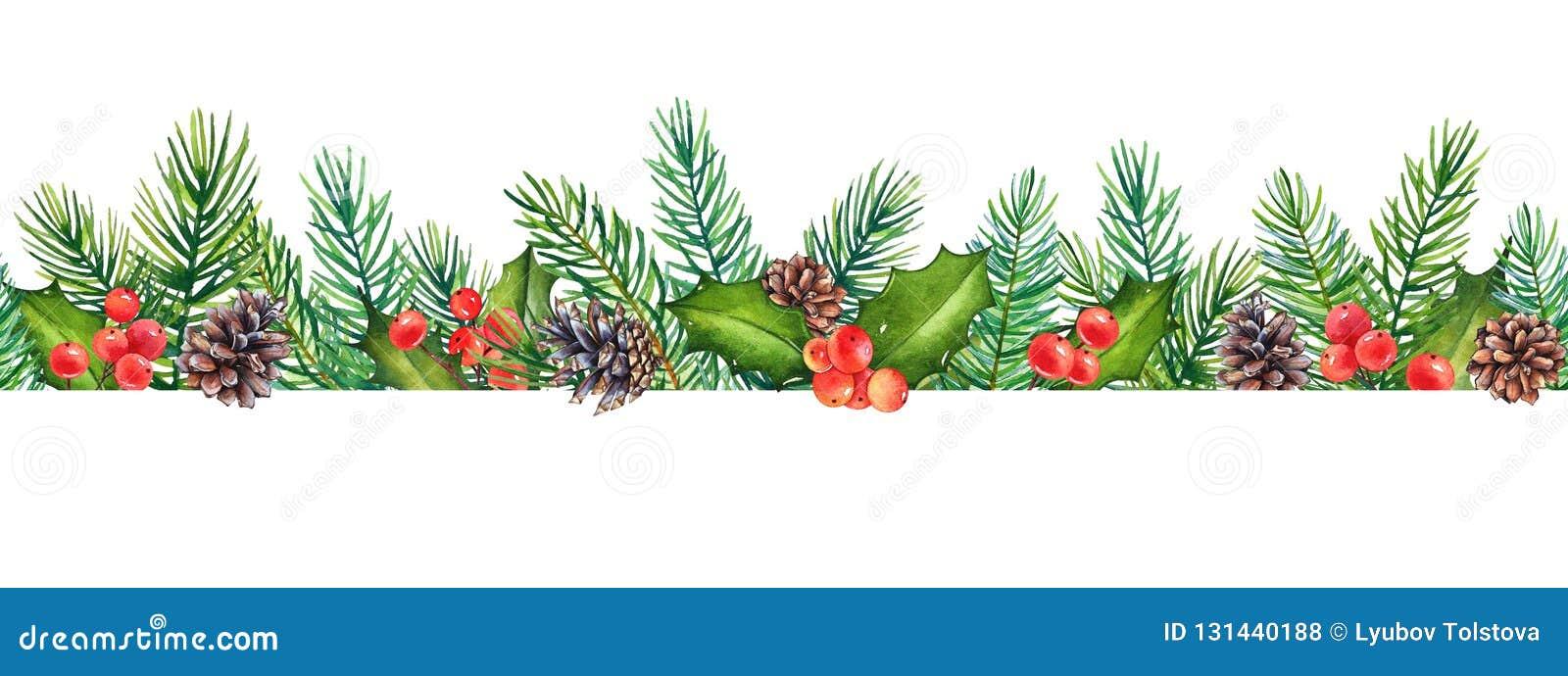 Bezszwowy wzór, dekoracyjny Bożenarodzeniowy kwiecisty element z akwareli gałąź holly z jagodami i sosna z rożkami,