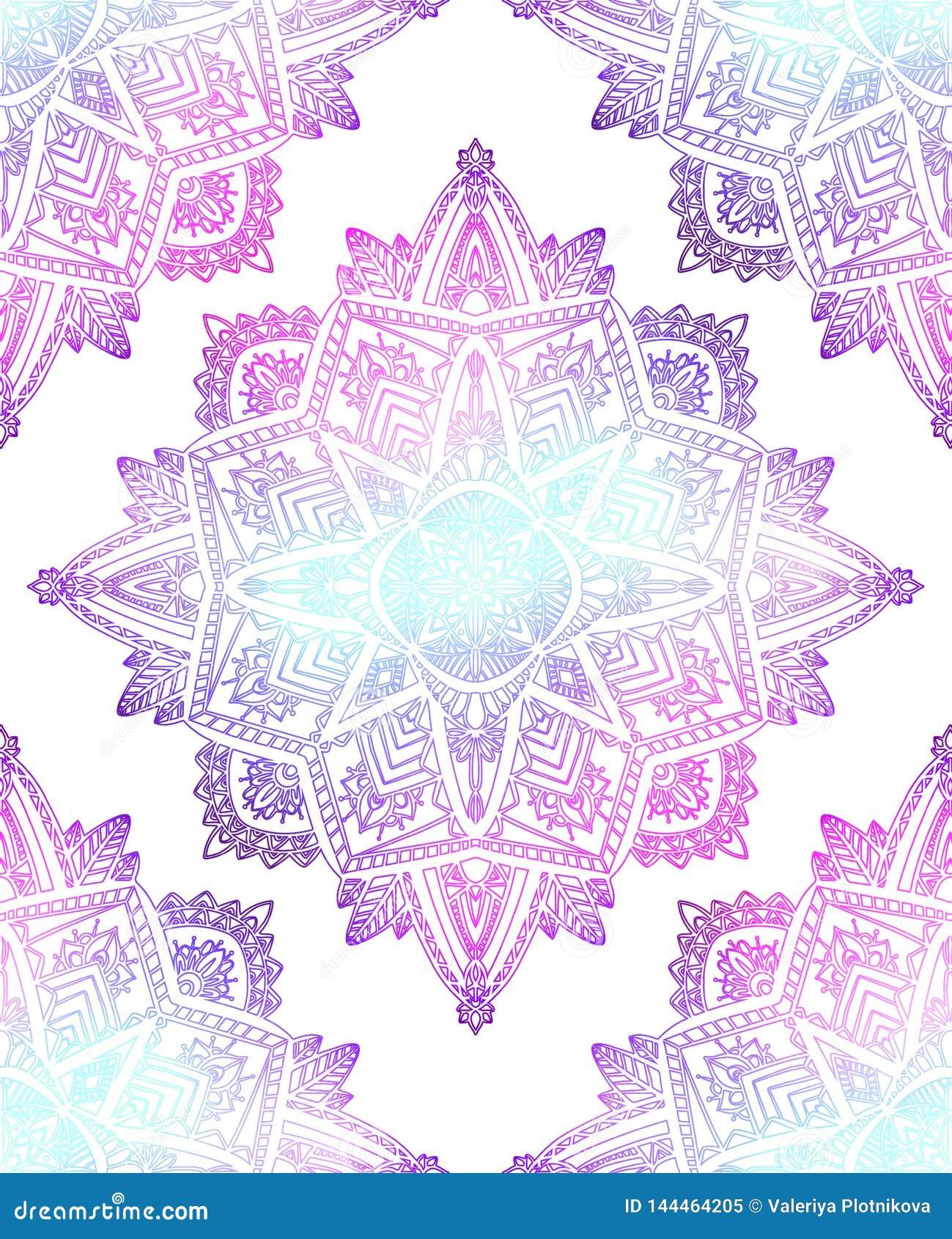 Bezszwowy wzór delikatni mandalas na białym tle Ręka rysujący doodle koronki tło Wektorowa Gradientowa tekstura