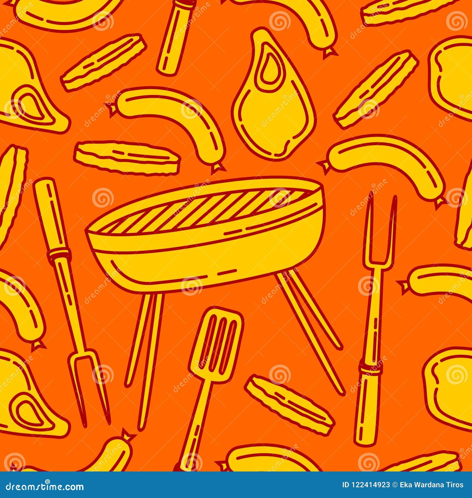 Bezszwowy wzór grill