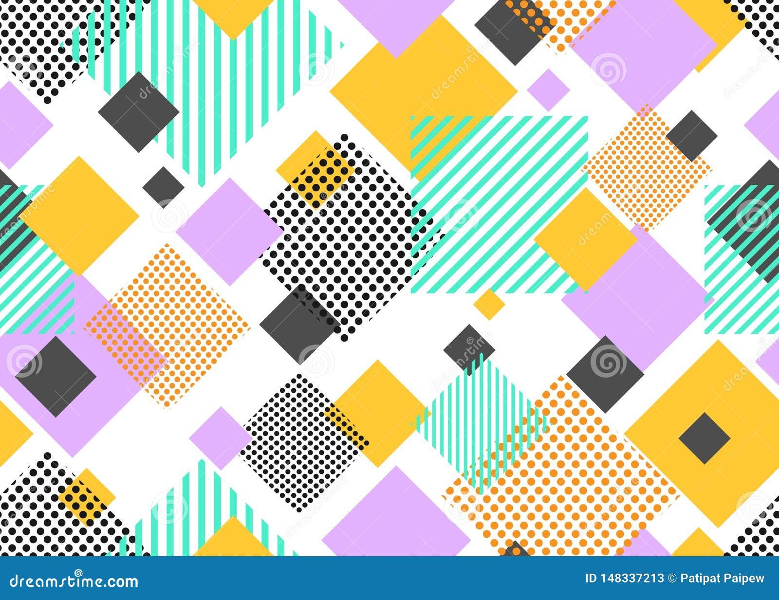 Bezszwowy wzór kolorowego trójboka geometryczny nowożytny kształt na białym tle