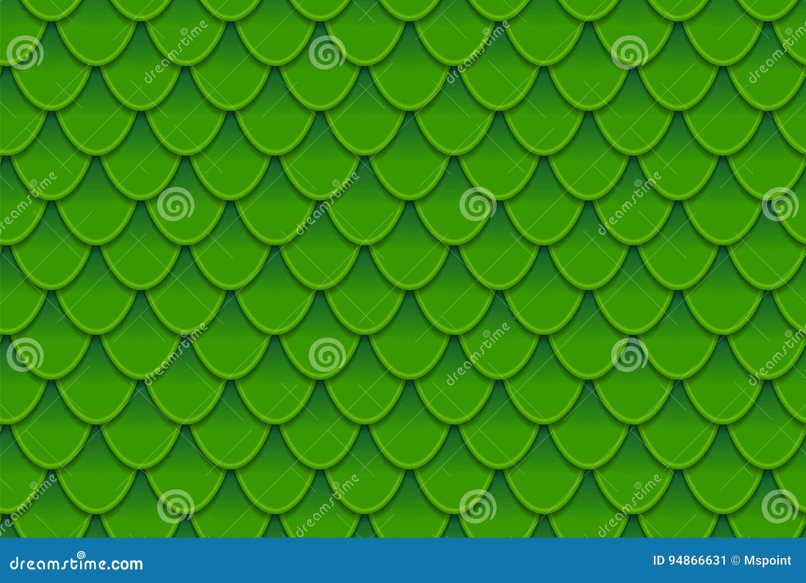 Bezszwowy wzór kolorowy zielony rybi waży Rybi waży, smok skóra, Japoński karp, dinosaur skóra, krosty, gad