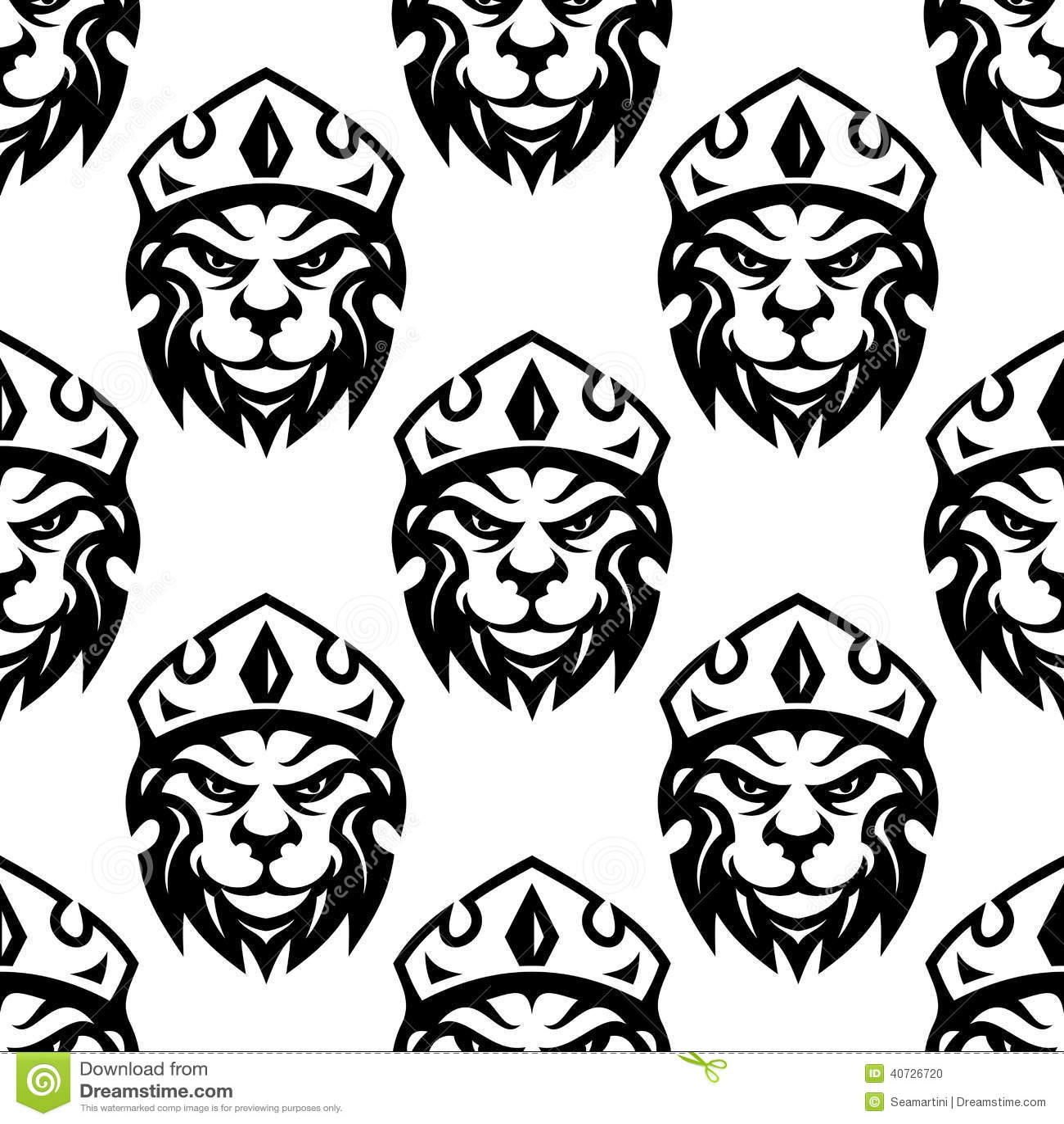 Bezszwowy wzór koronowany królewski lew