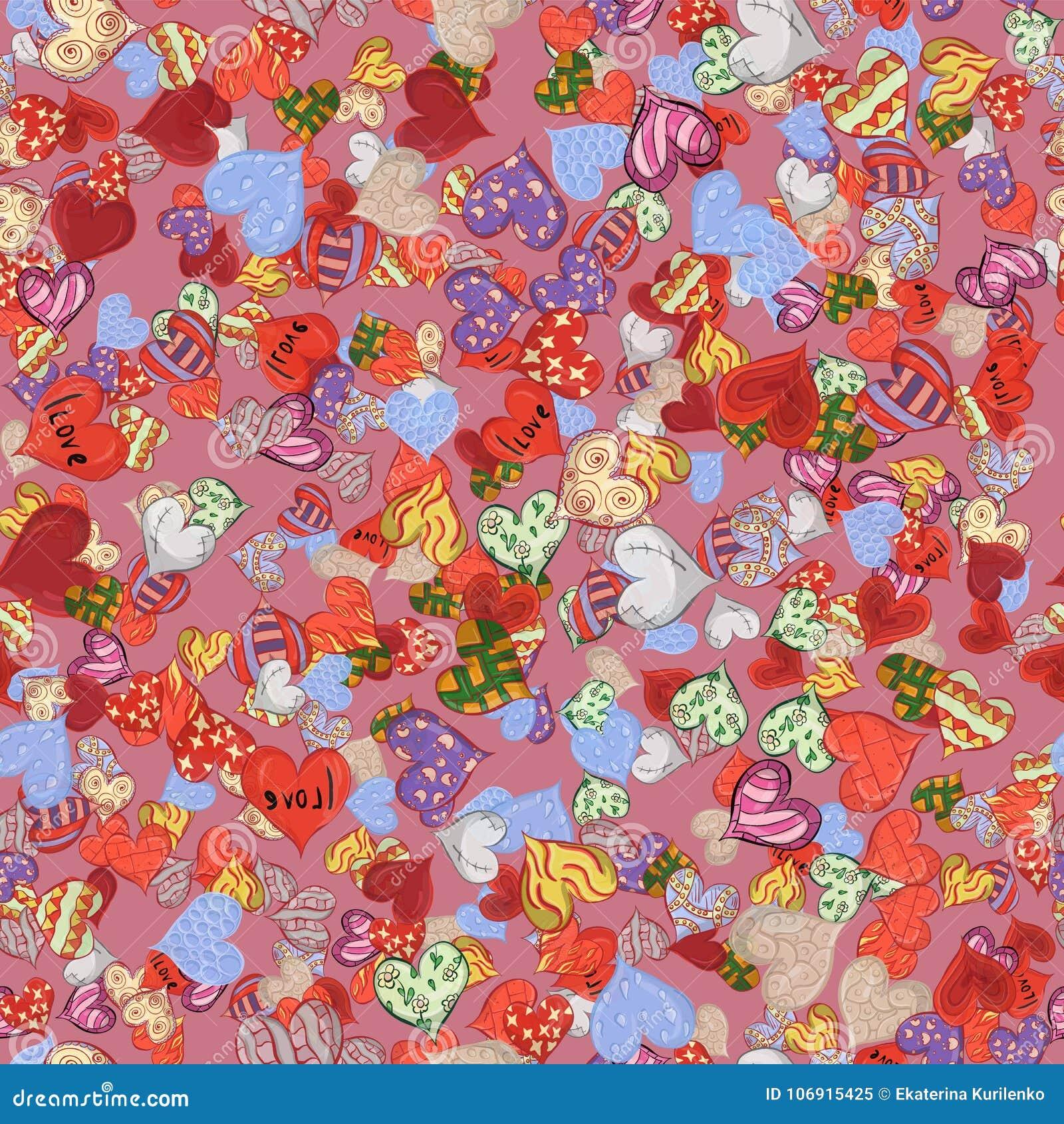 Bezszwowy wzór kreślący serca w różnorodnych projekt menchiach