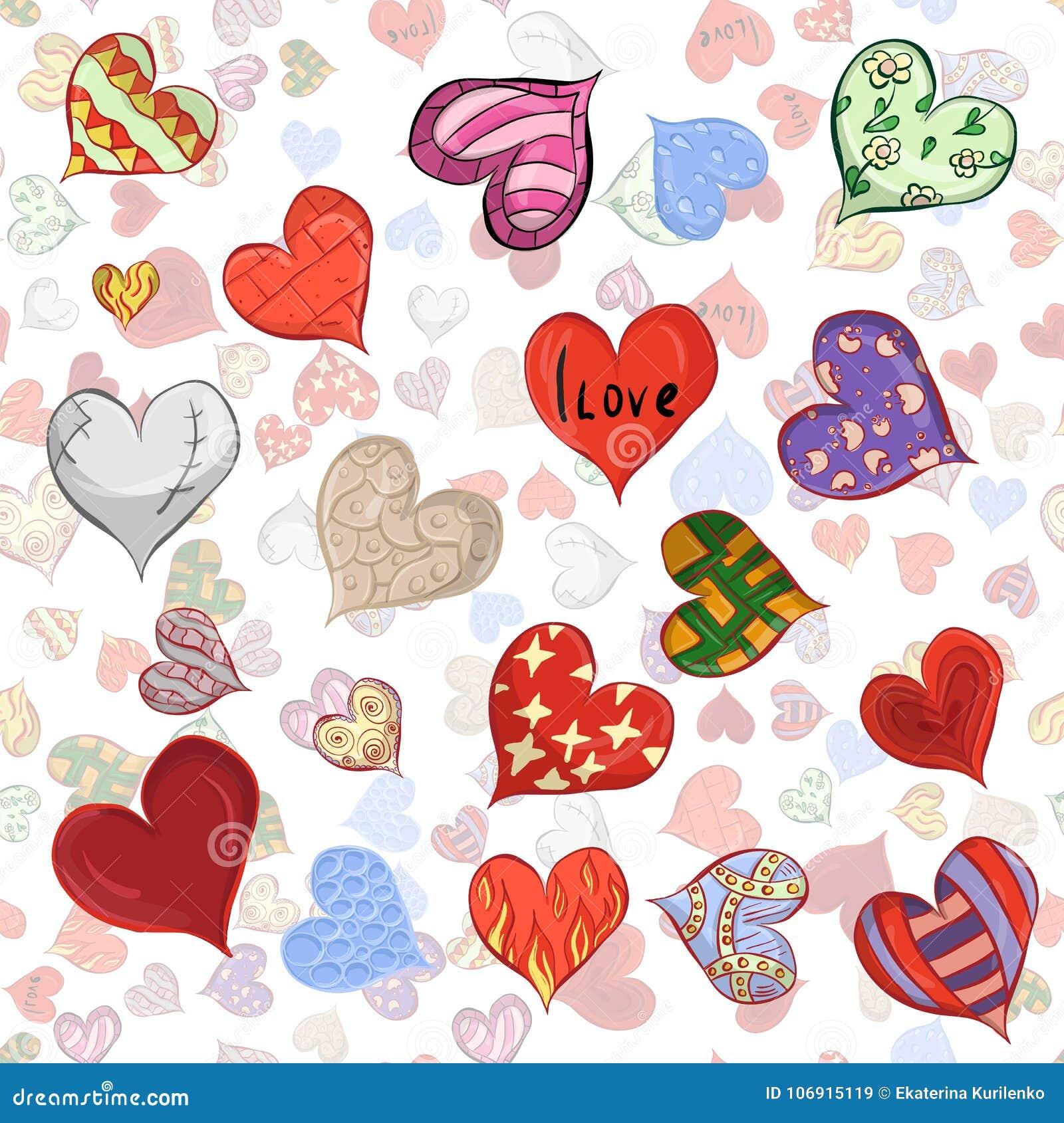 Bezszwowy wzór kreślący serca w różnorodnych projektach