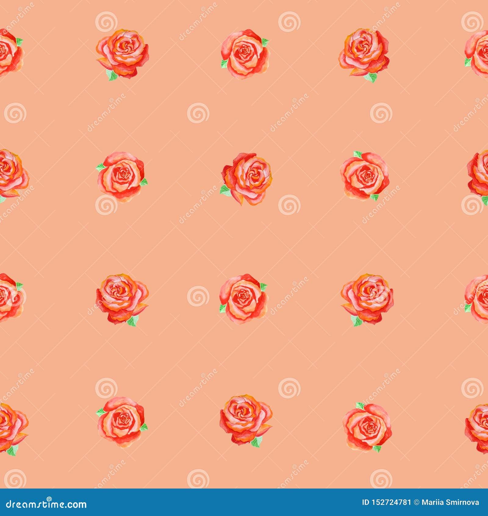 Bezszwowy wzór małe czerwone róże na terakotowym tle