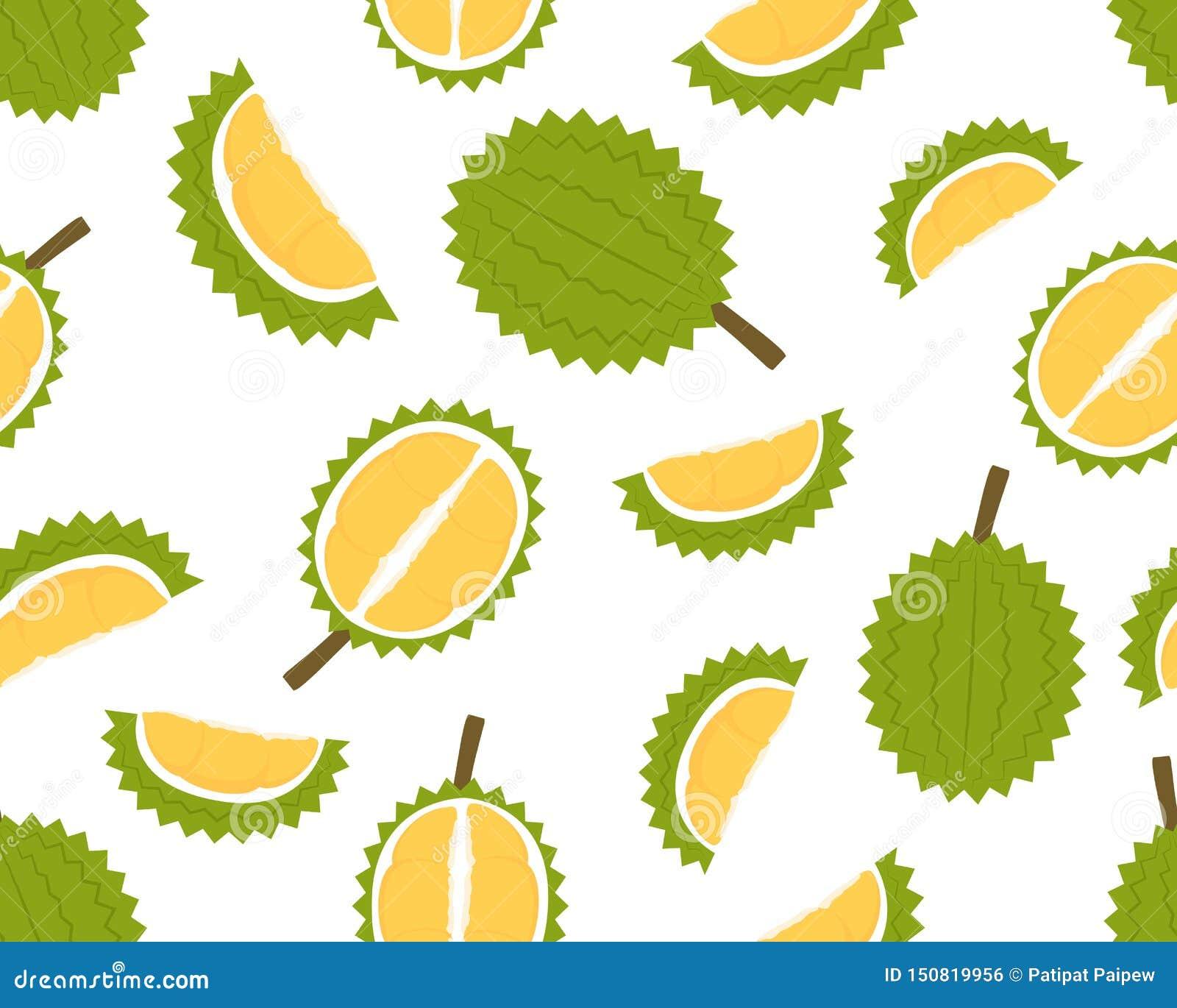 Bezszwowy wzór odizolowywający świeży durian na białym tle