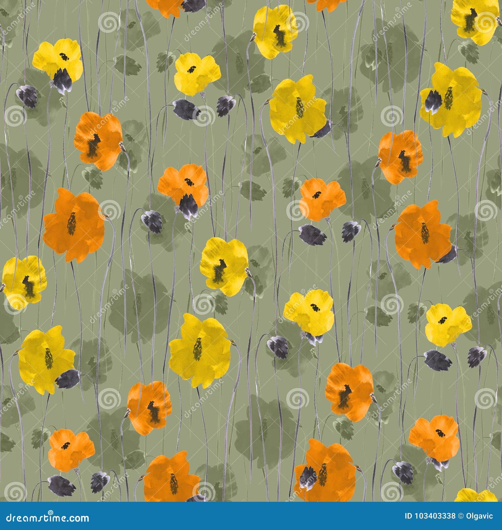 Bezszwowy wzór pomarańcze, kolor żółty, beż kwitnie na zielonym tle akwarela