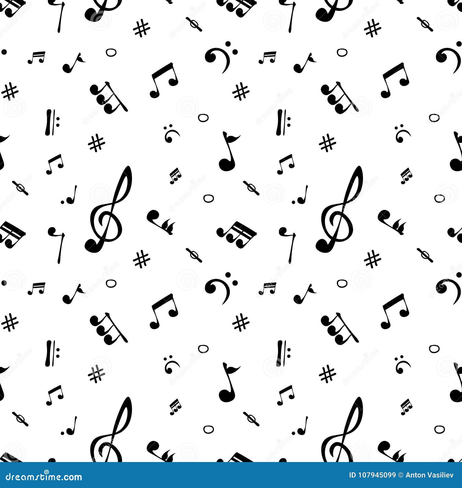 Bezszwowy wzór realistyczne muzykalne notatki wektor