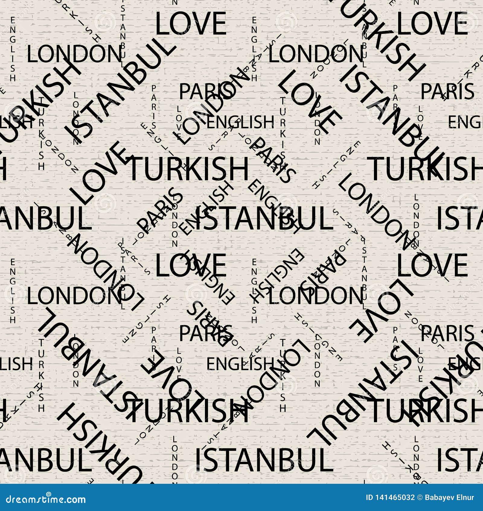 Bezszwowy wzór robić ręcznie pisany tekst Angielscy Londyńscy Paryscy turecczyzn słowa, lettern pisać ręcznie w czarny i biały i