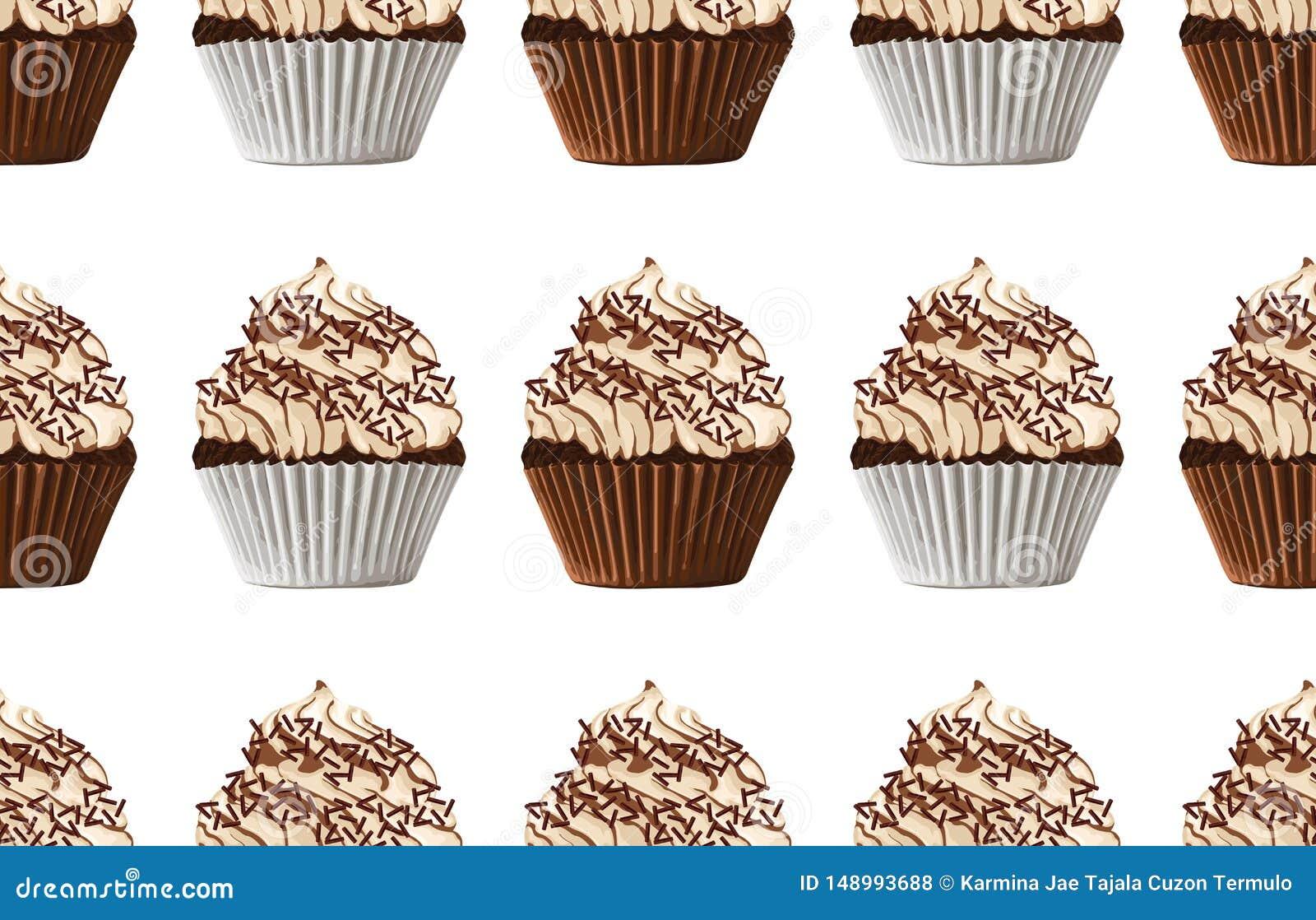 Bezszwowy wzór słodkiej czekolady babeczki