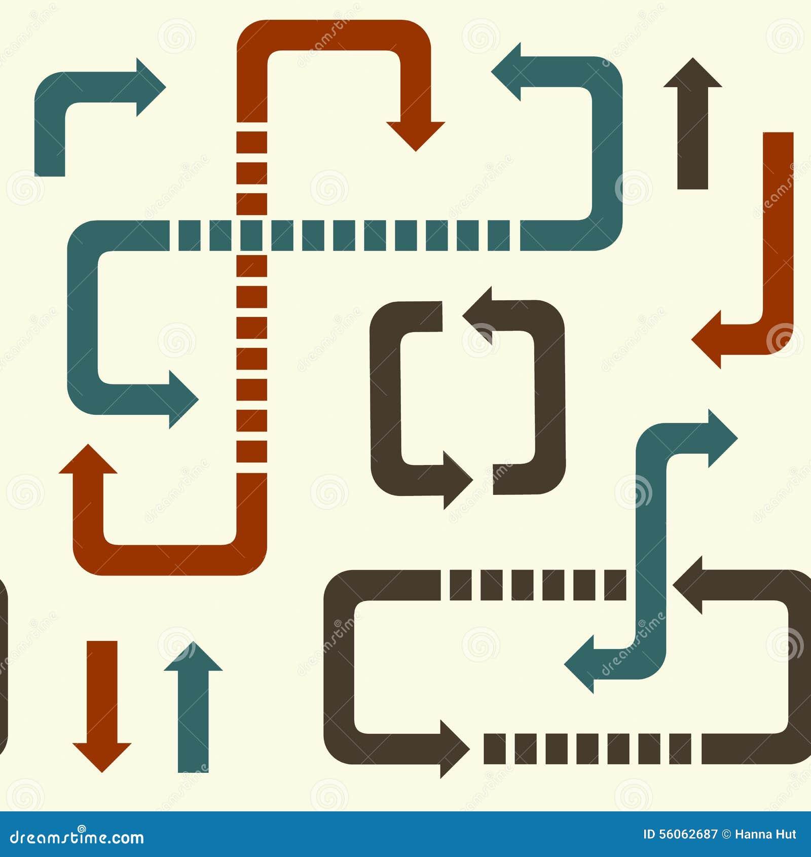 Bezszwowy wzór strzała i kierunki prawi, znaki opuszczać, w górę puszka