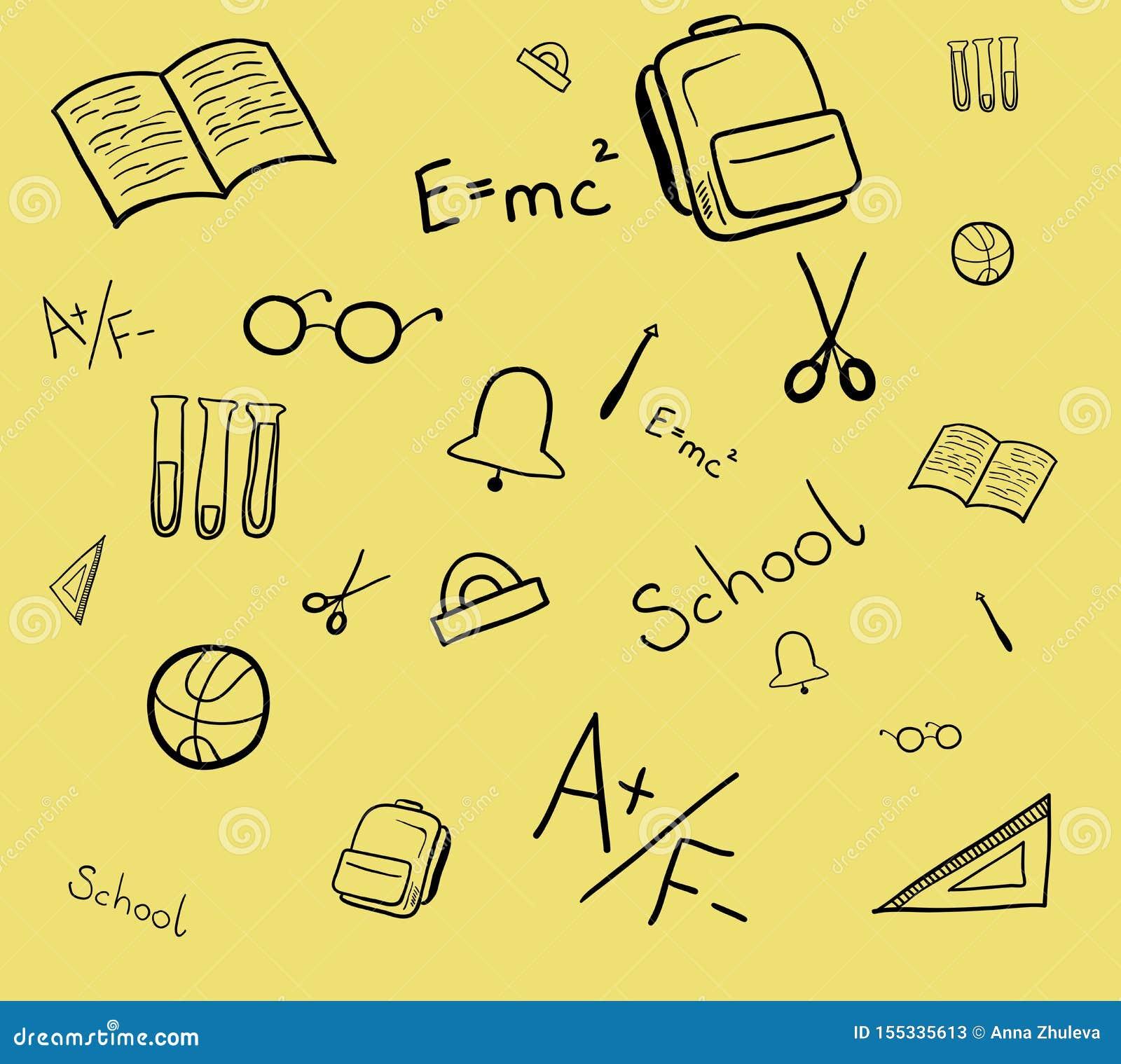 Bezszwowy wzór szkolni elementy Odosobniona wektorowa ilustracja