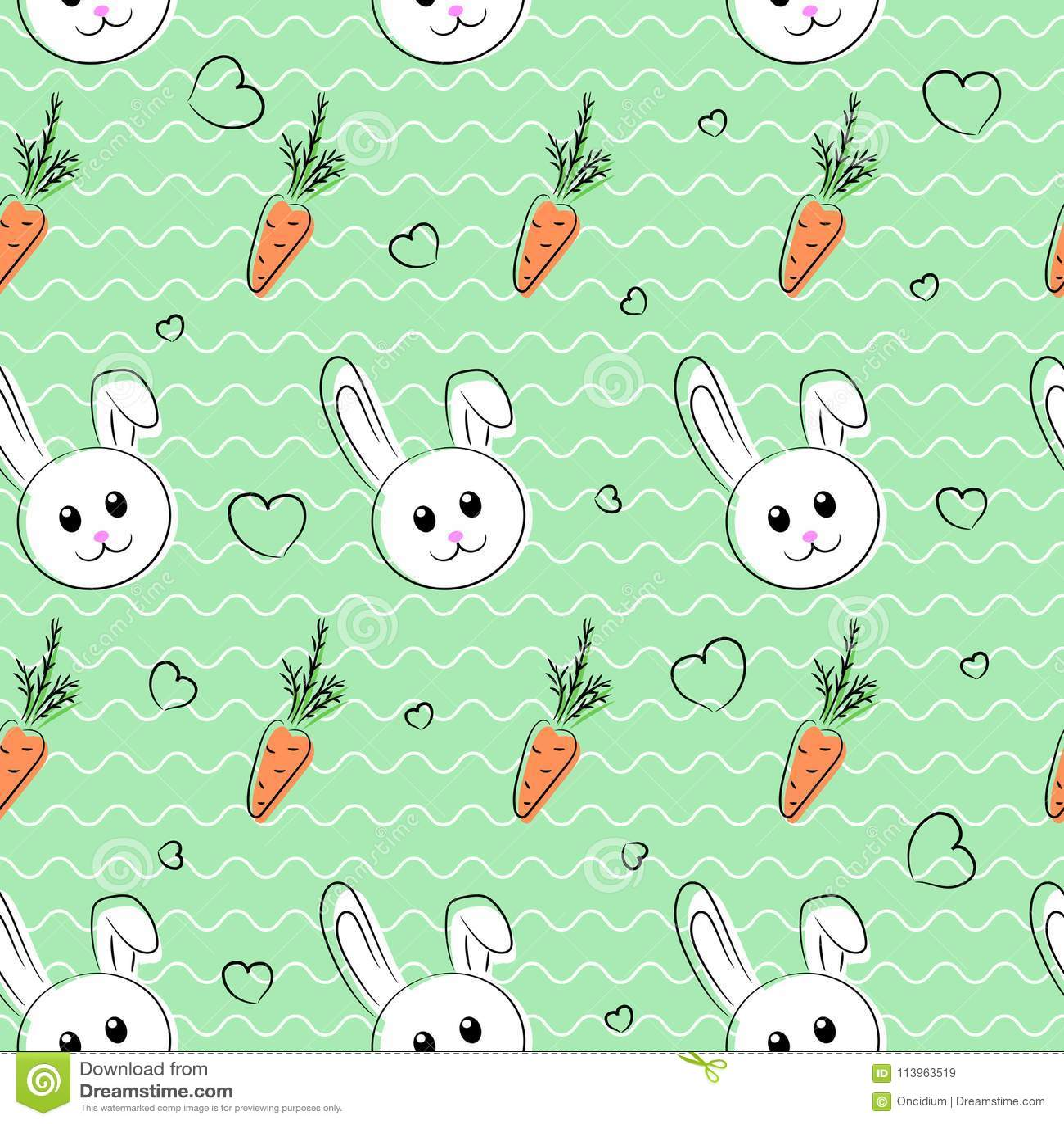 Bezszwowy wzór, tło z królikami i marchewki dla, Easter i innych wakacji