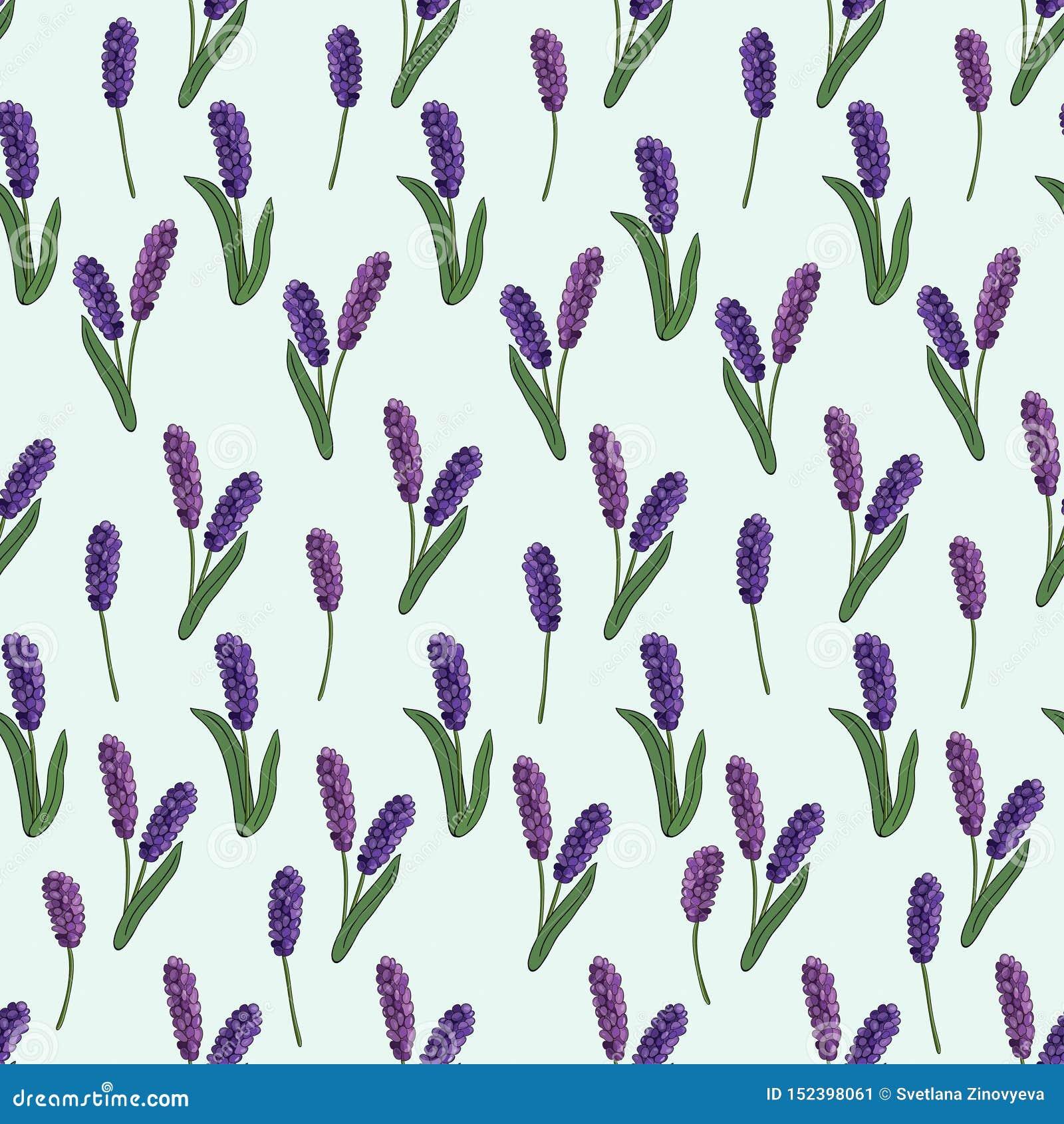 Bezszwowy wzór wiosna kwitnie na błękitnym tle wektor