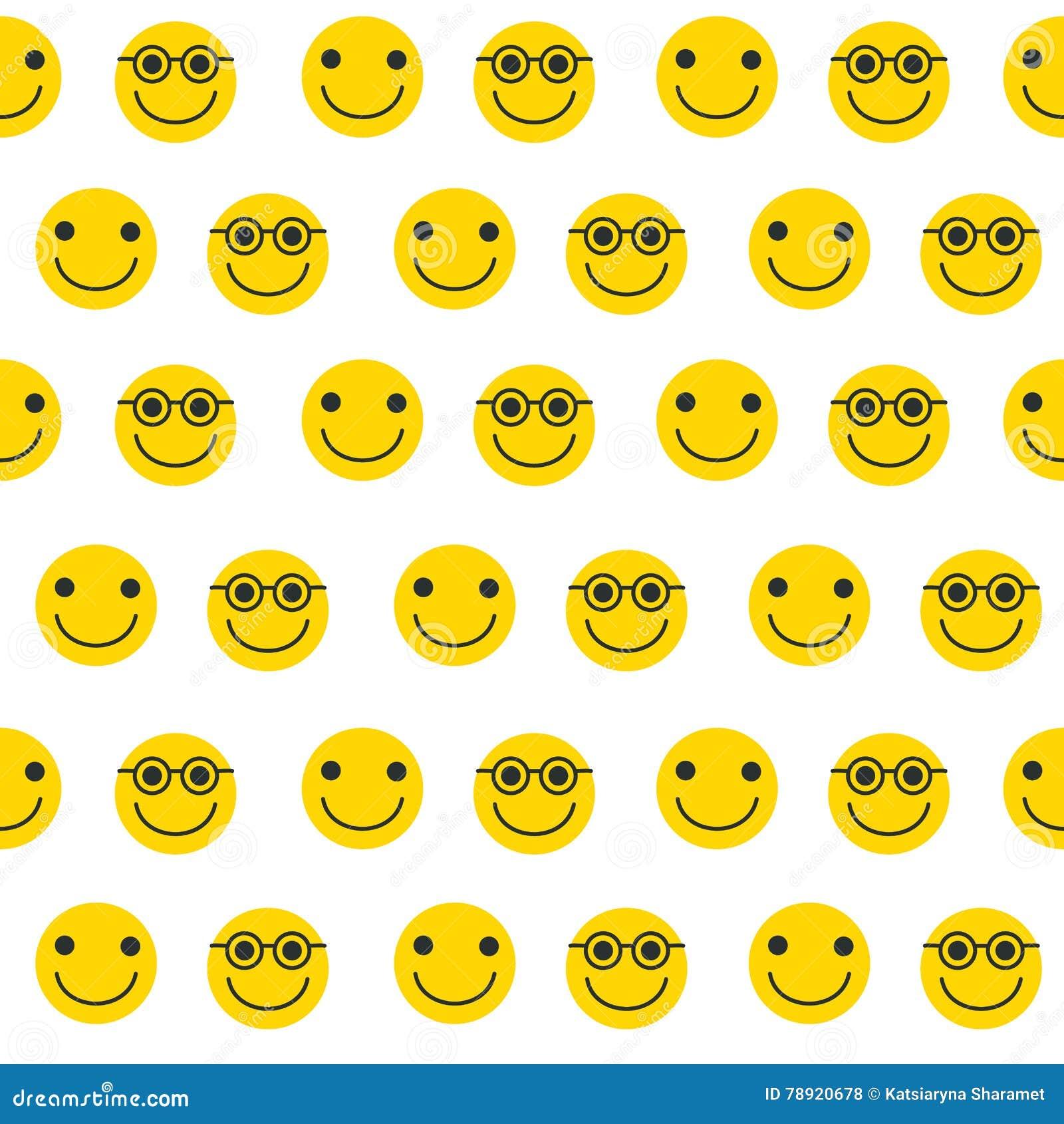 Bezszwowy wzór z żółtymi emoticons