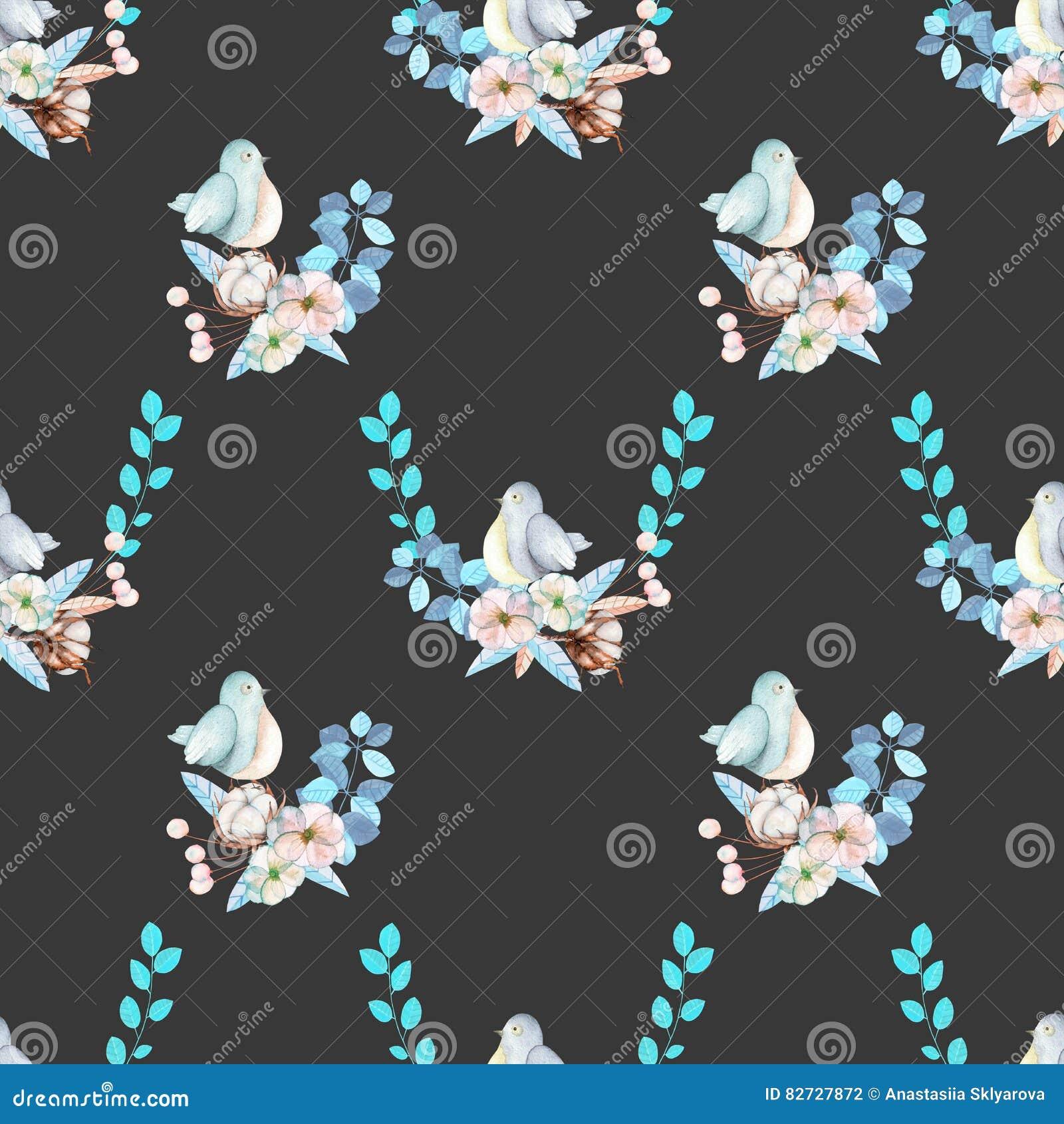 Bezszwowy wzór z akwarela ślicznym ptakiem, błękit roślinami, kwiatami i bawełnianym kwiatem, ręka rysująca odizolowywającą na ci