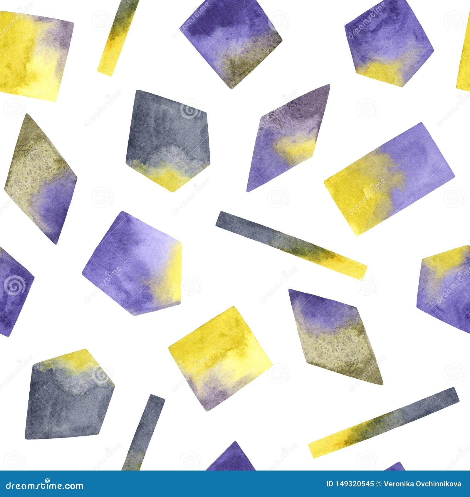 Bezszwowy wzór z akwareli ręką malował textured geometrycznych kształty
