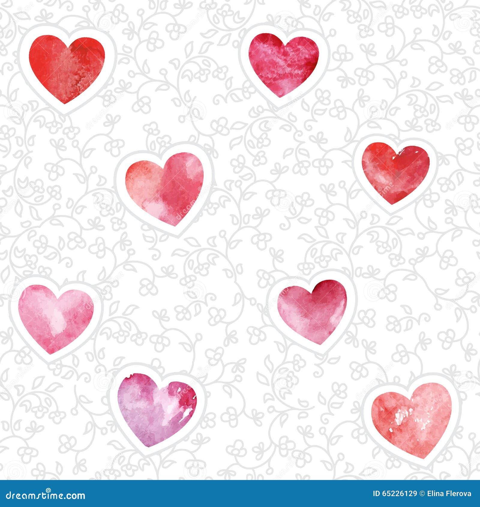 Bezszwowy wzór z akwareli sercami