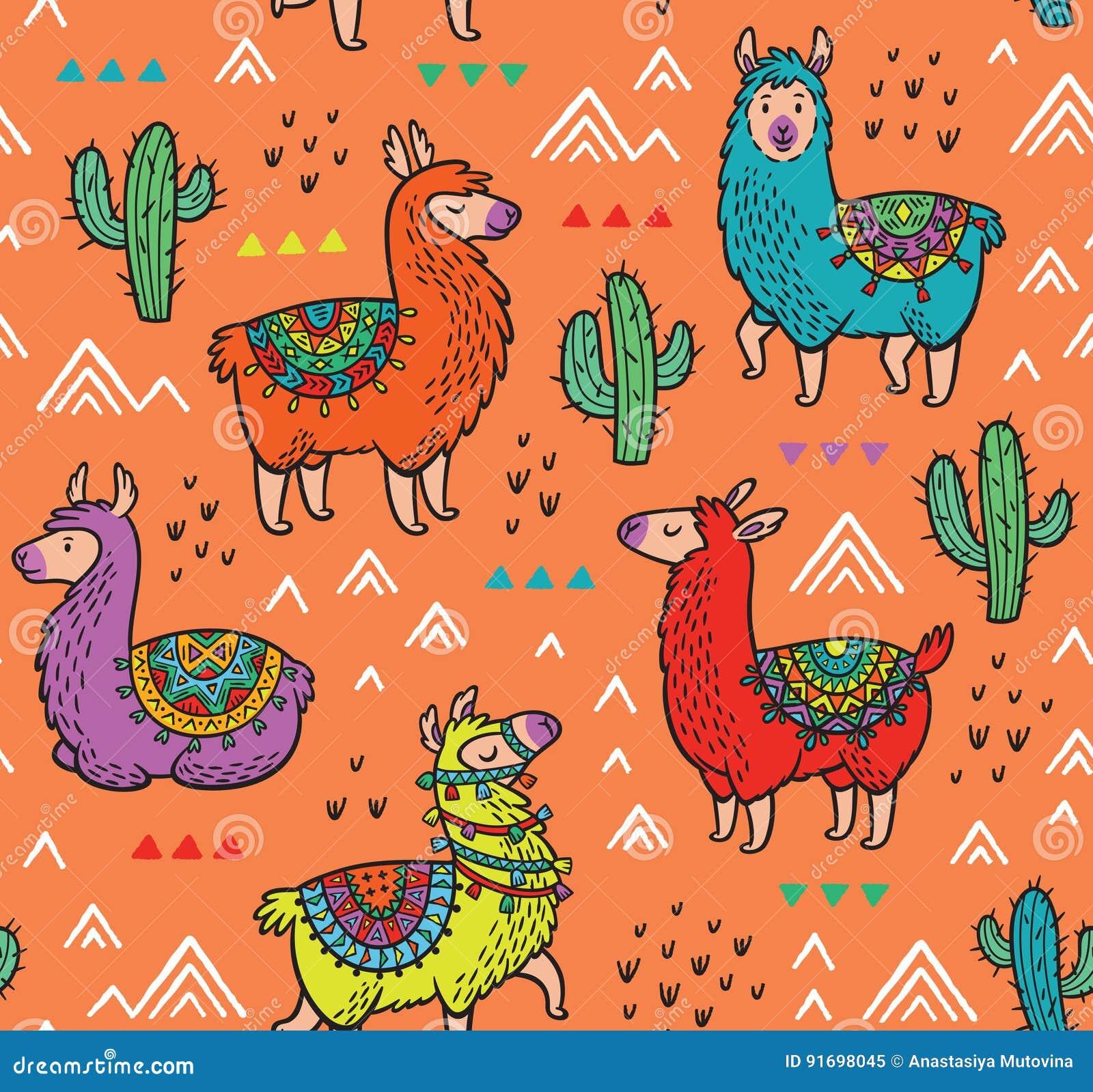 Bezszwowy wzór z alpagą i kaktusami