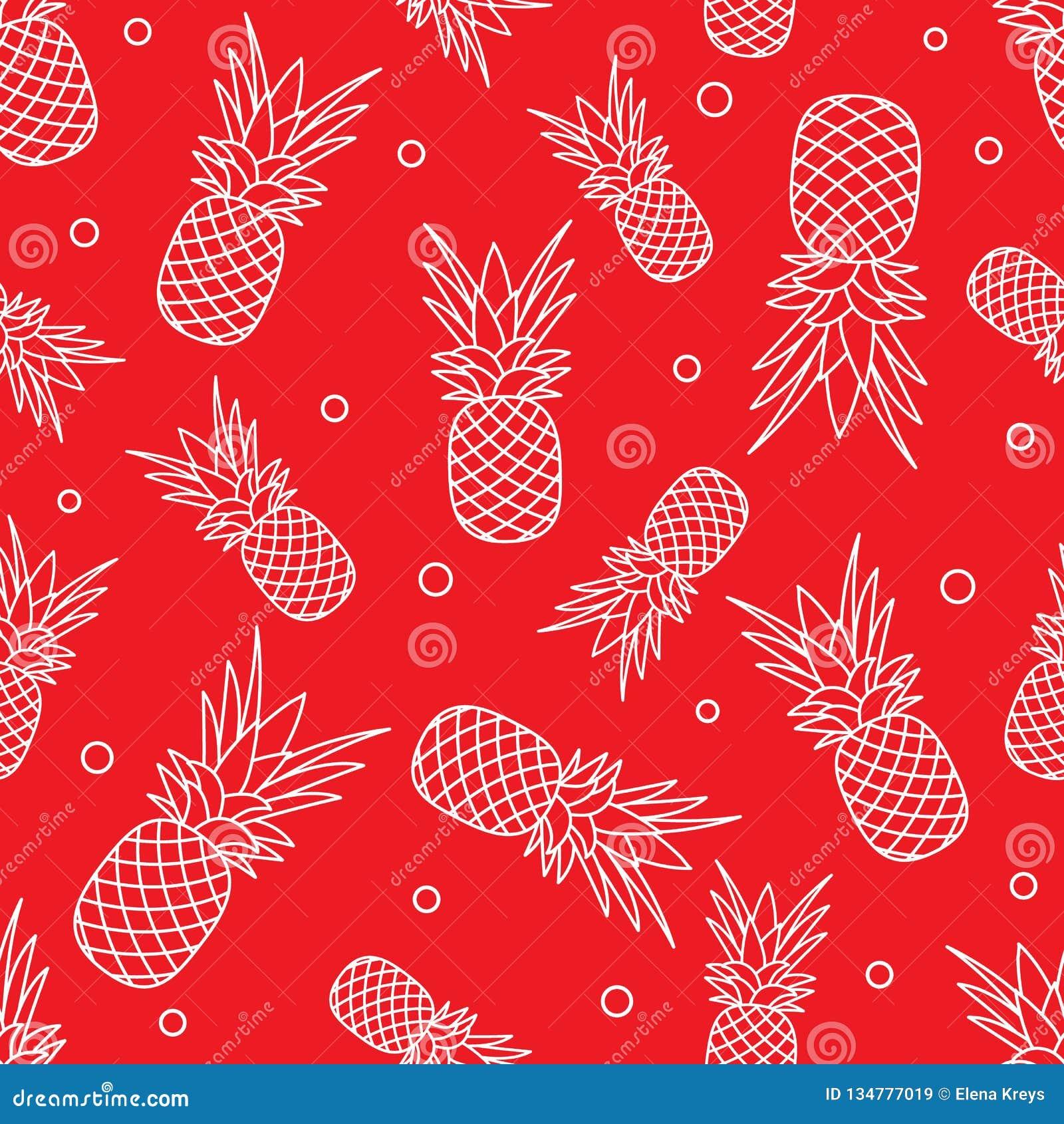 Bezszwowy wzór z ananasami owoce tropikalne