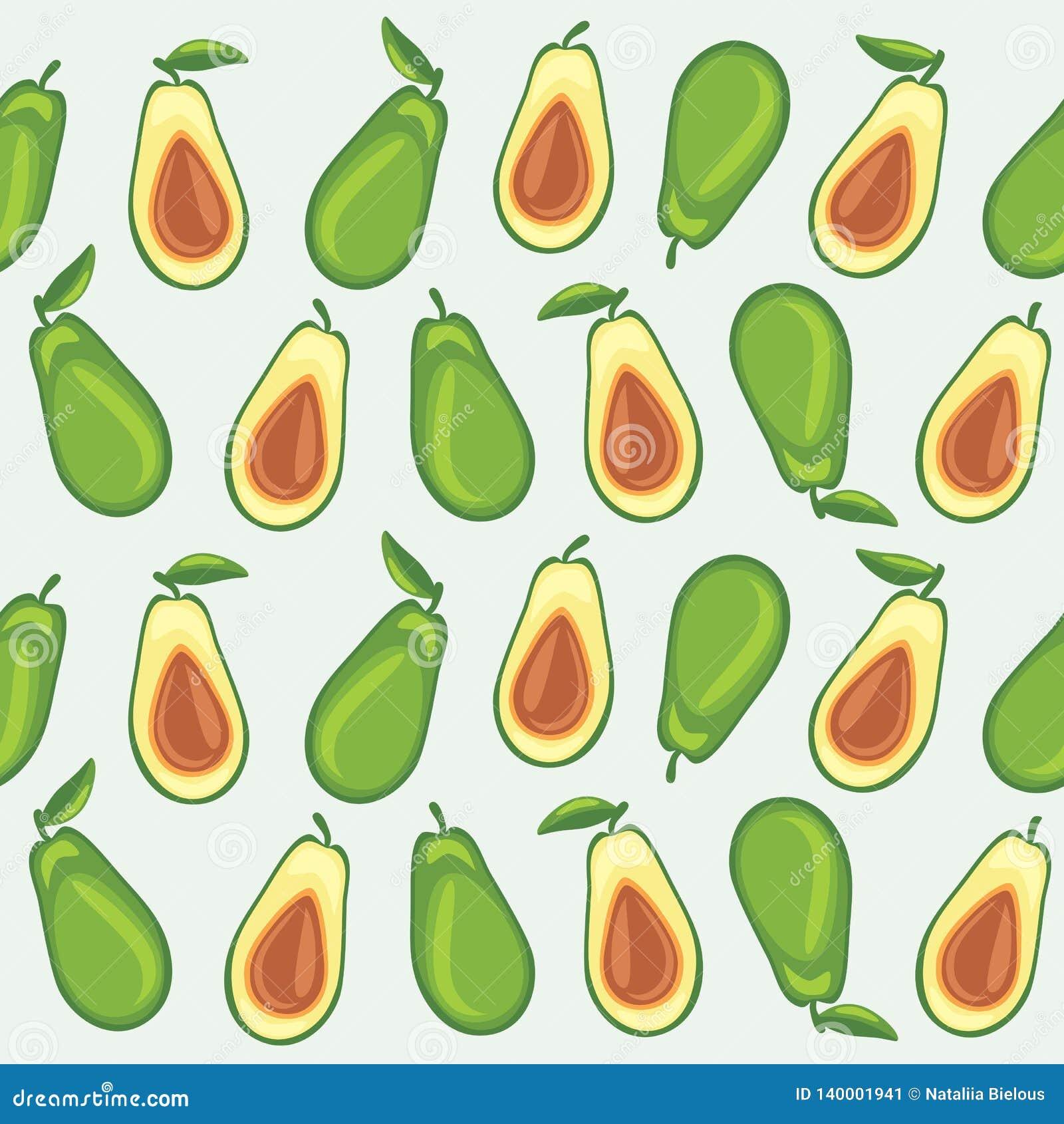 Bezszwowy wzór z avocado