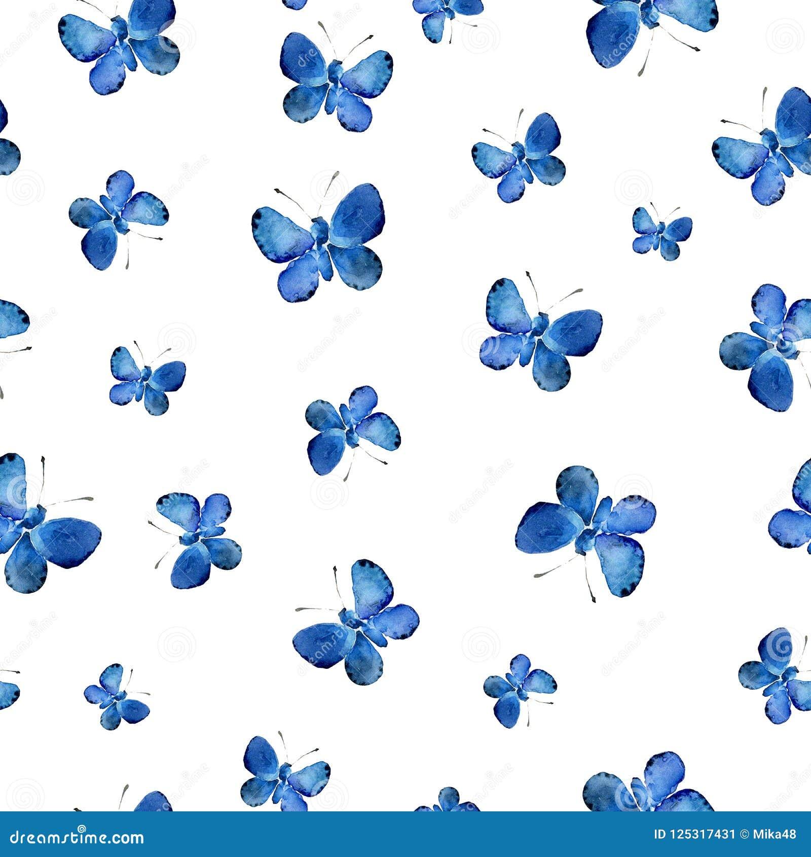 Bezszwowy wzór z błękitnymi motylami