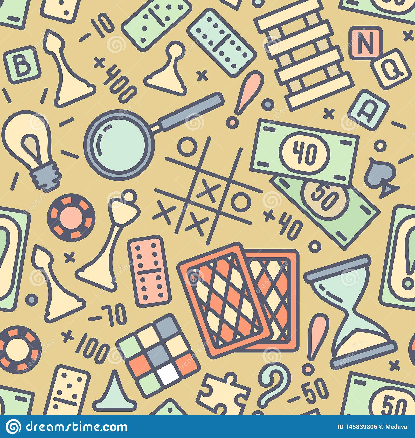 Bezszwowy wzór z barwionymi gra planszowa atrybutami