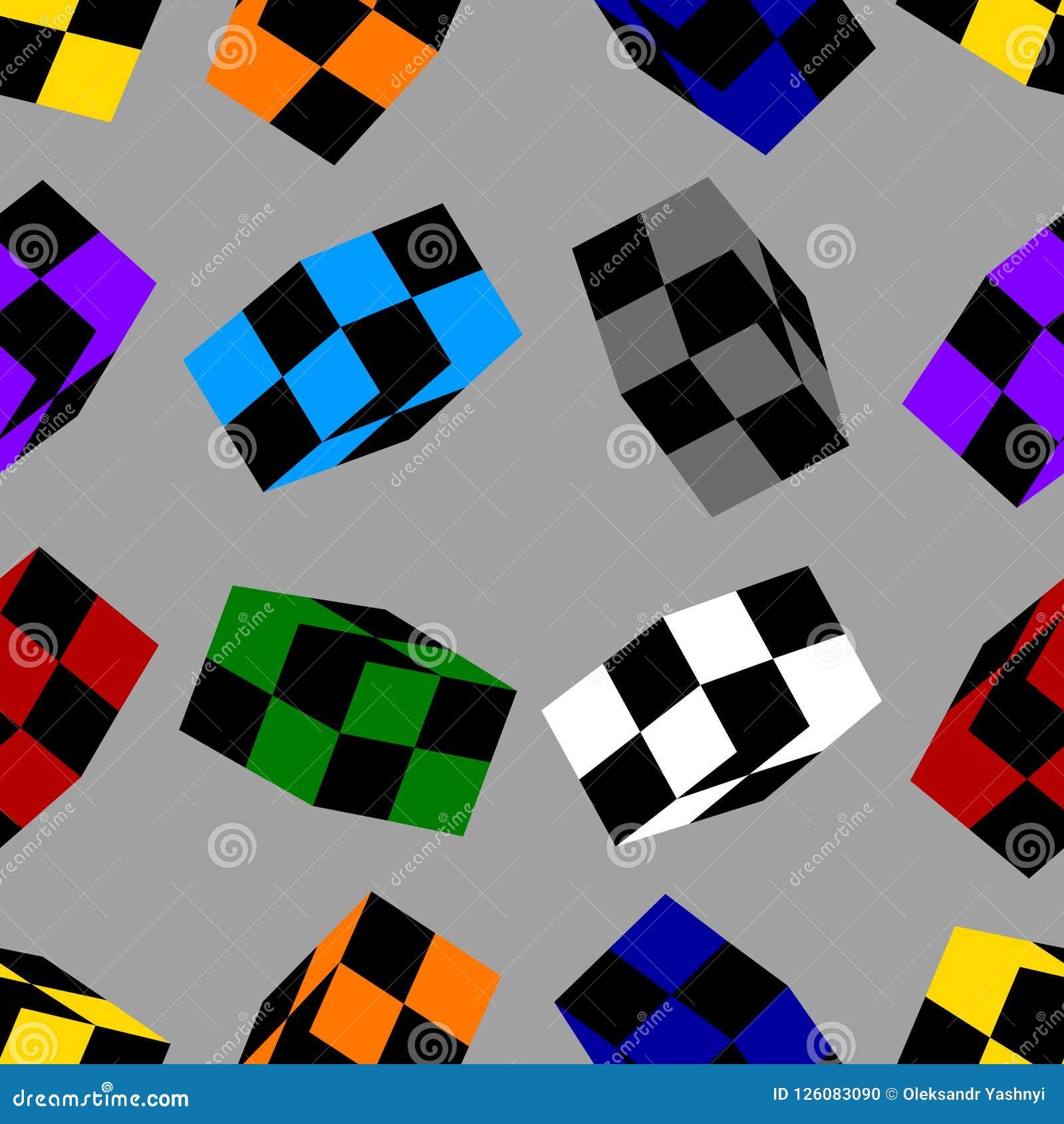 Bezszwowy wzór z Barwionymi Szachowymi sześcianami odizolowywającymi na szarym tle projekta świeża ilustracyjna naturalna wektoru