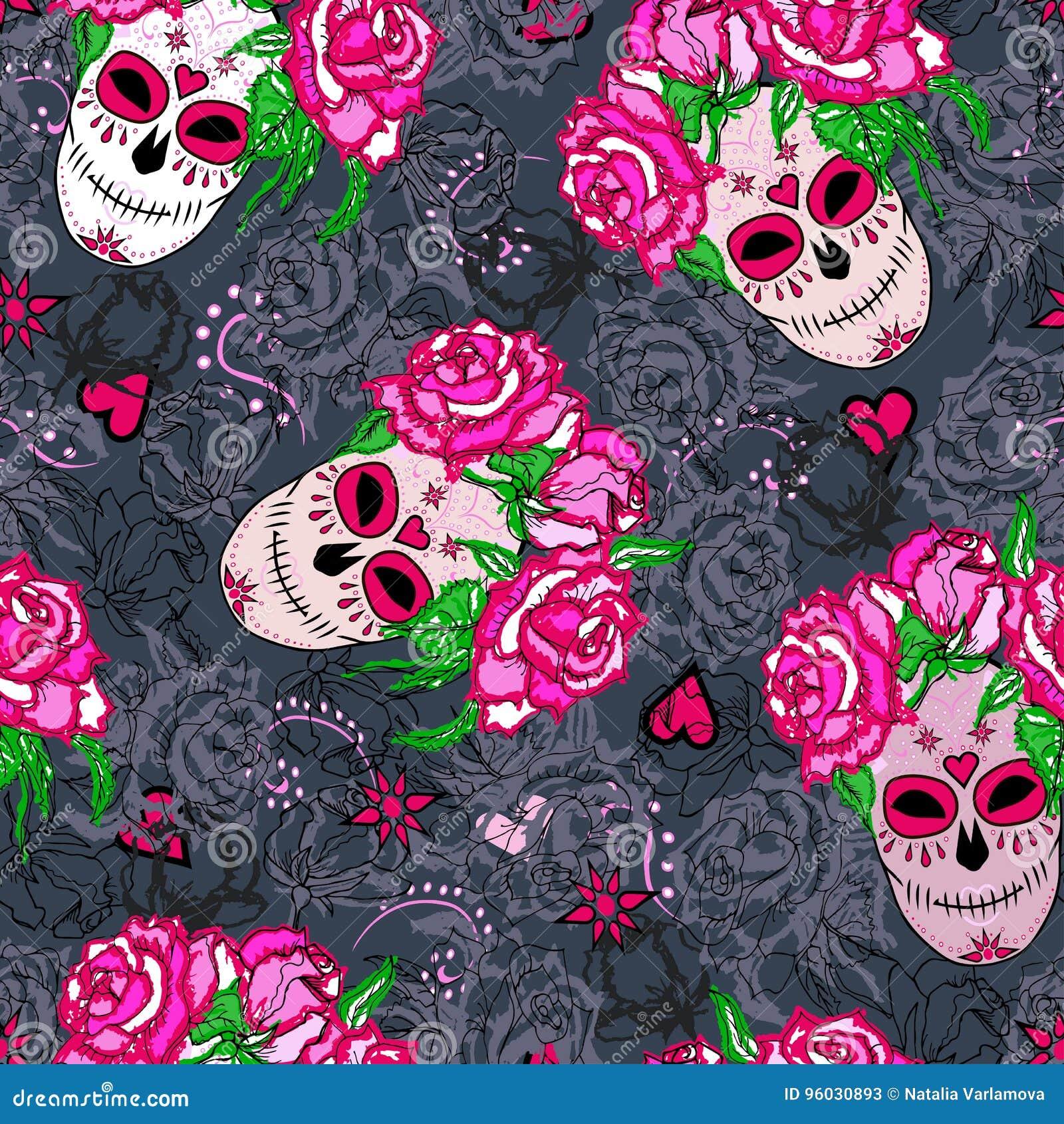 Bezszwowy wzór z cukrową czaszką i różowymi różami