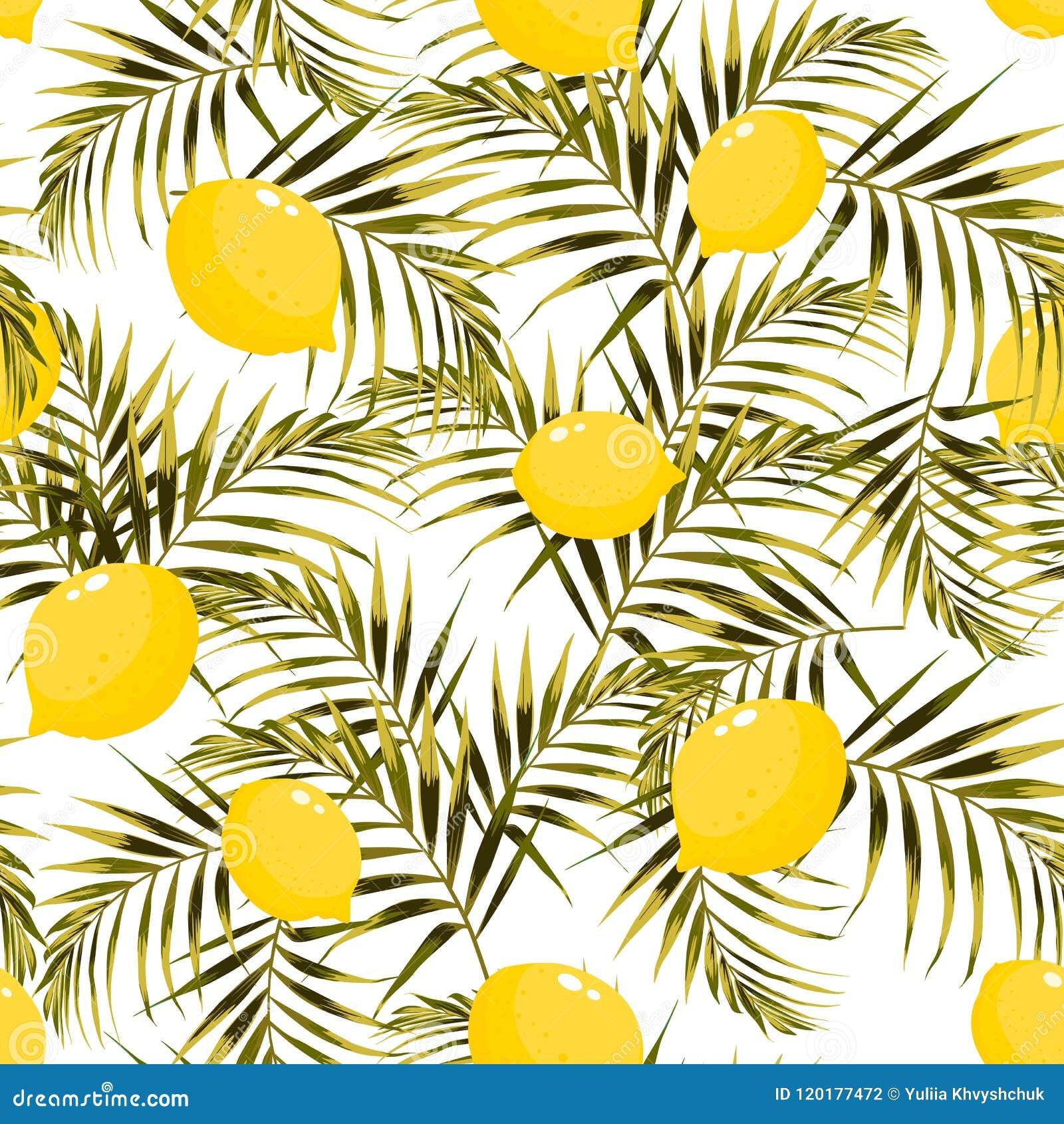 Bezszwowy wzór z cytrynami i zielenią, żółta palma opuszcza na lekkim tle