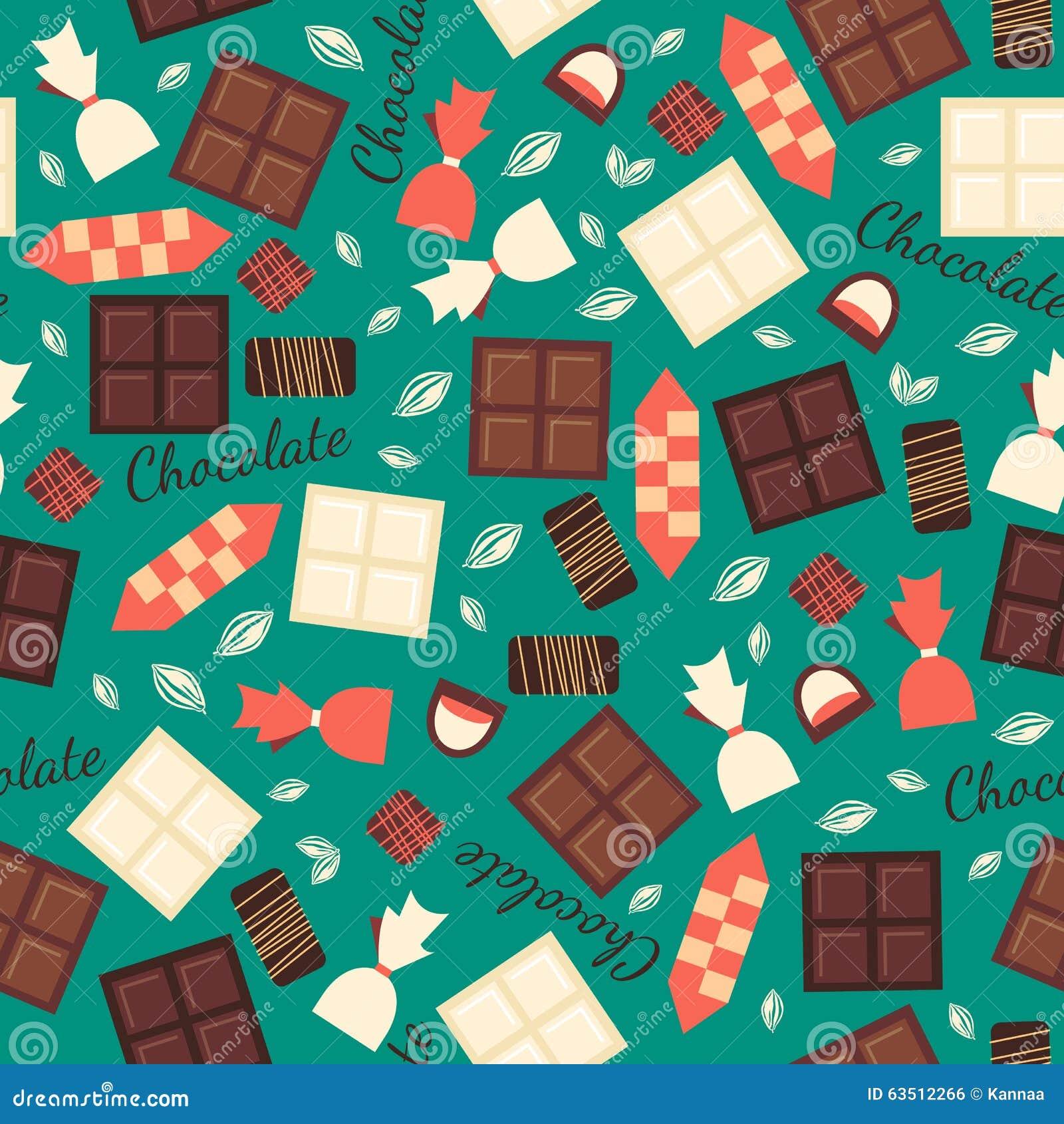 Bezszwowy wzór z czekoladowymi cukierkami odizolowywającymi dalej