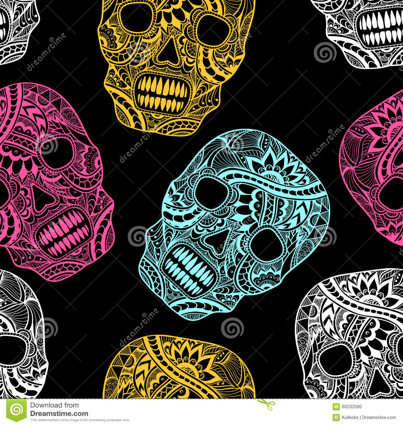 Bezszwowy wzór z Dekoruje czaszka malujących ornamentów pełnych kolory na czerni