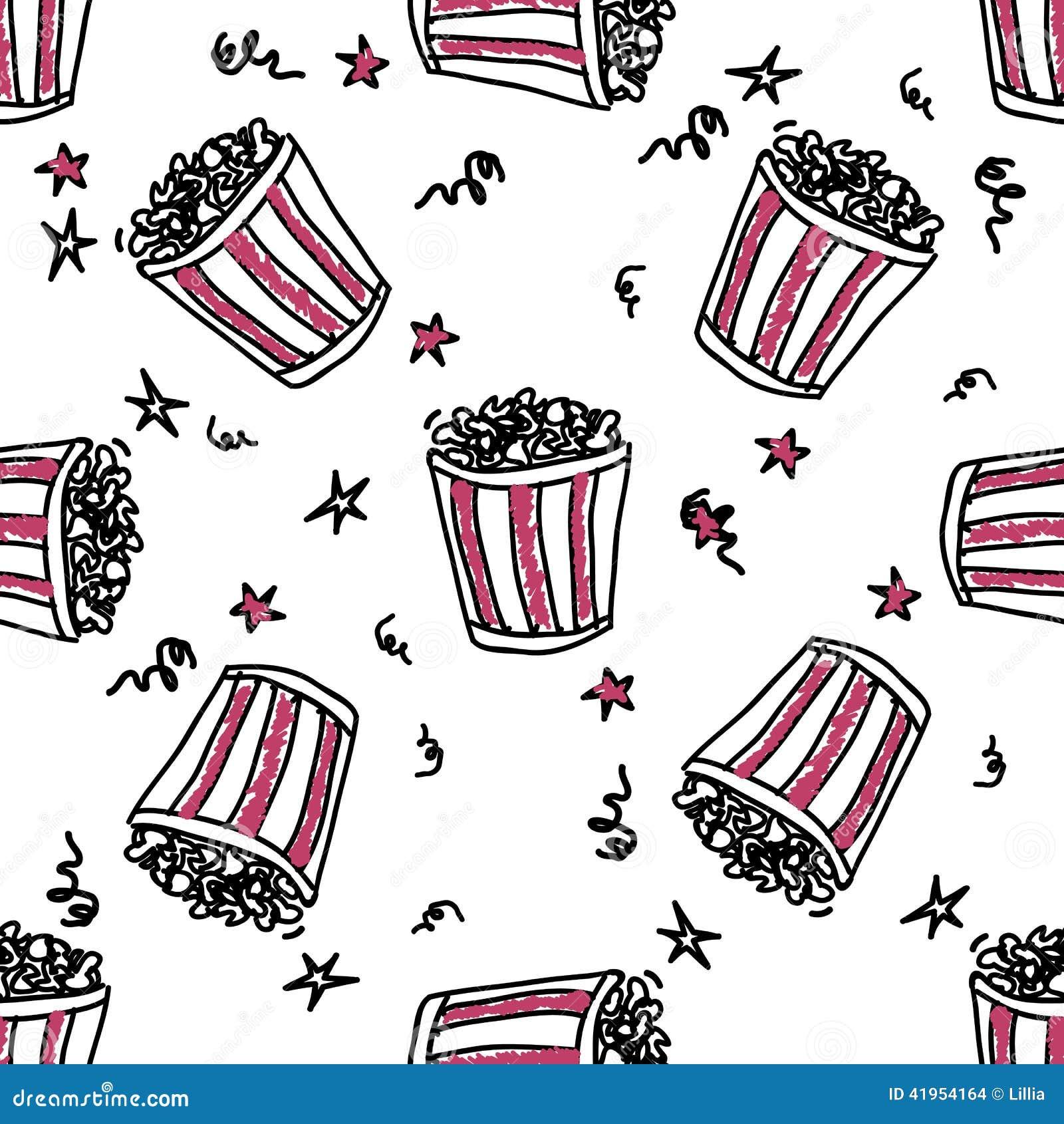 Bezszwowy wzór z doodle wystrzału kukurudzy backets