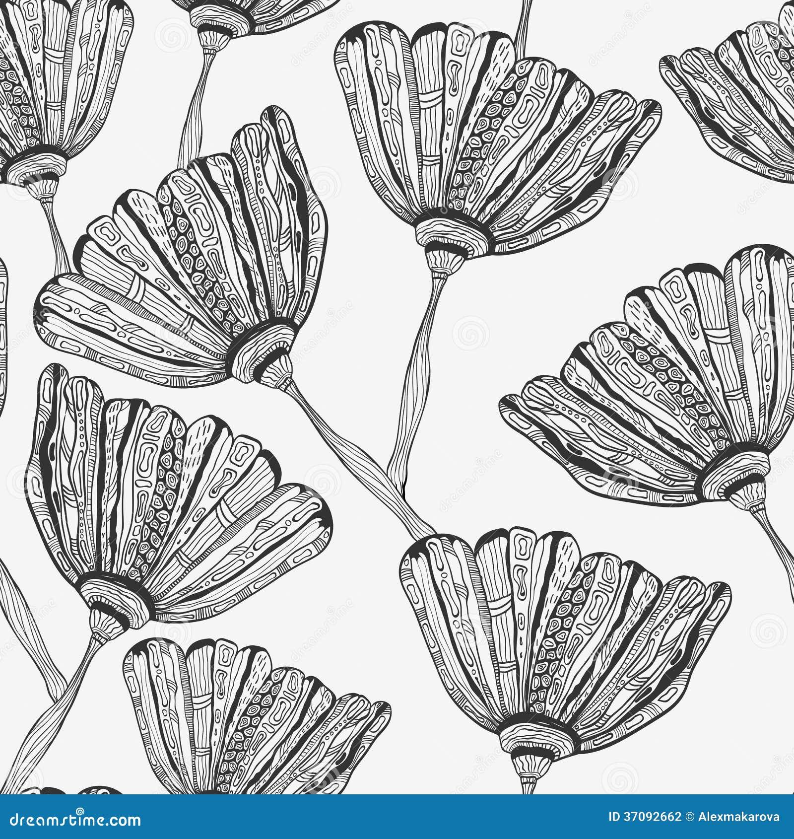 Download Bezszwowy Wzór Z Dziwacznymi Kwiatami Ilustracja Wektor - Ilustracja złożonej z kwiecisty, natura: 37092662