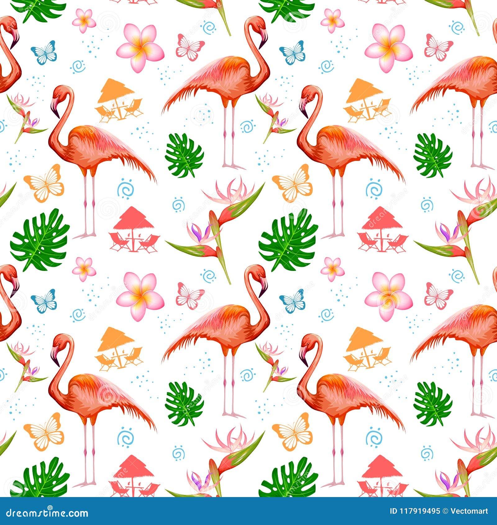 Bezszwowy wzór z Egzotycznym Tropikalnym kwiatem i flamingiem
