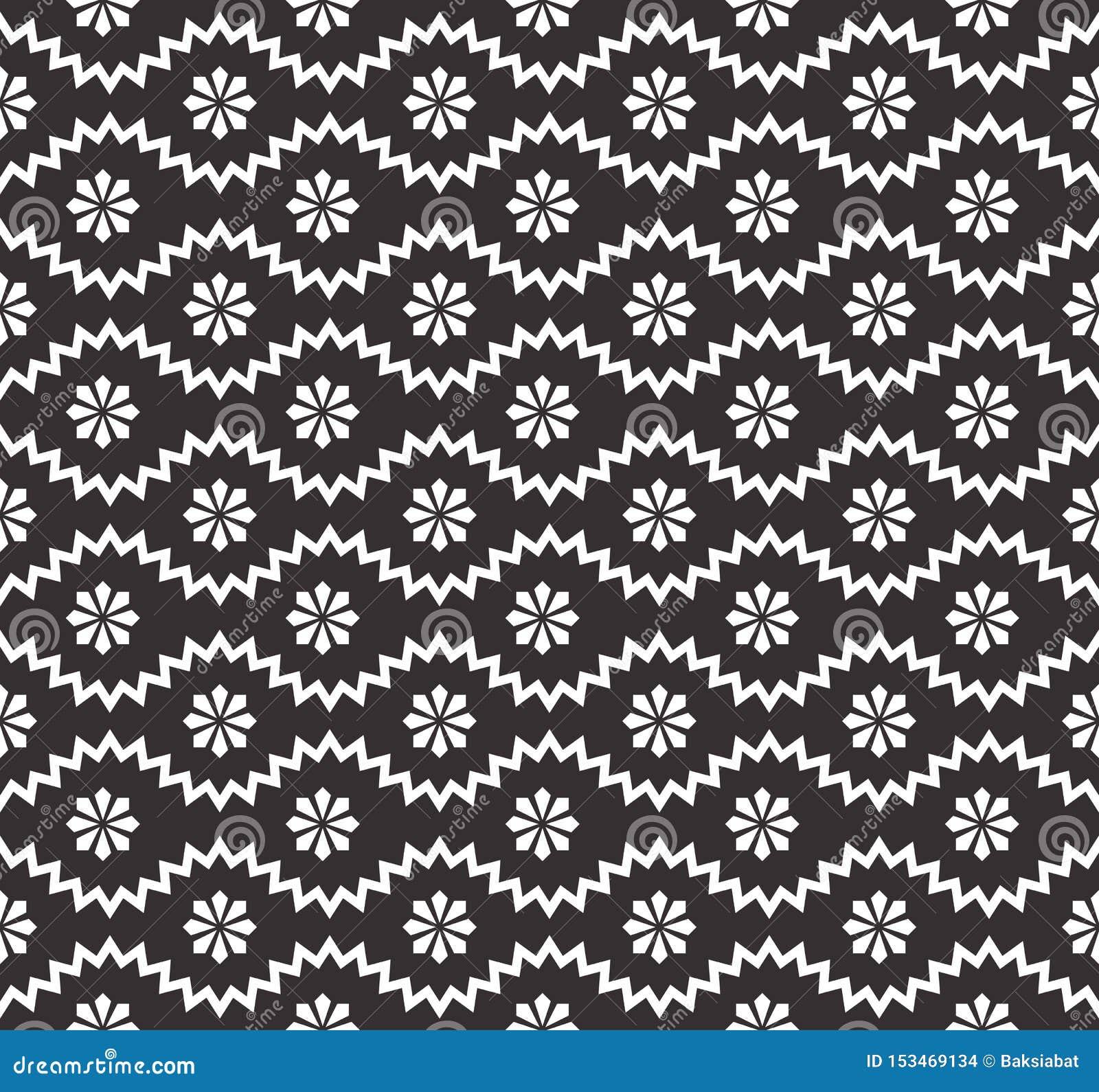 Bezszwowy wzór z geometrycznym zygzag i małymi kwiatami, płatek śniegu, gwiazdy Abstrakt Czarny I Bia?y prosty