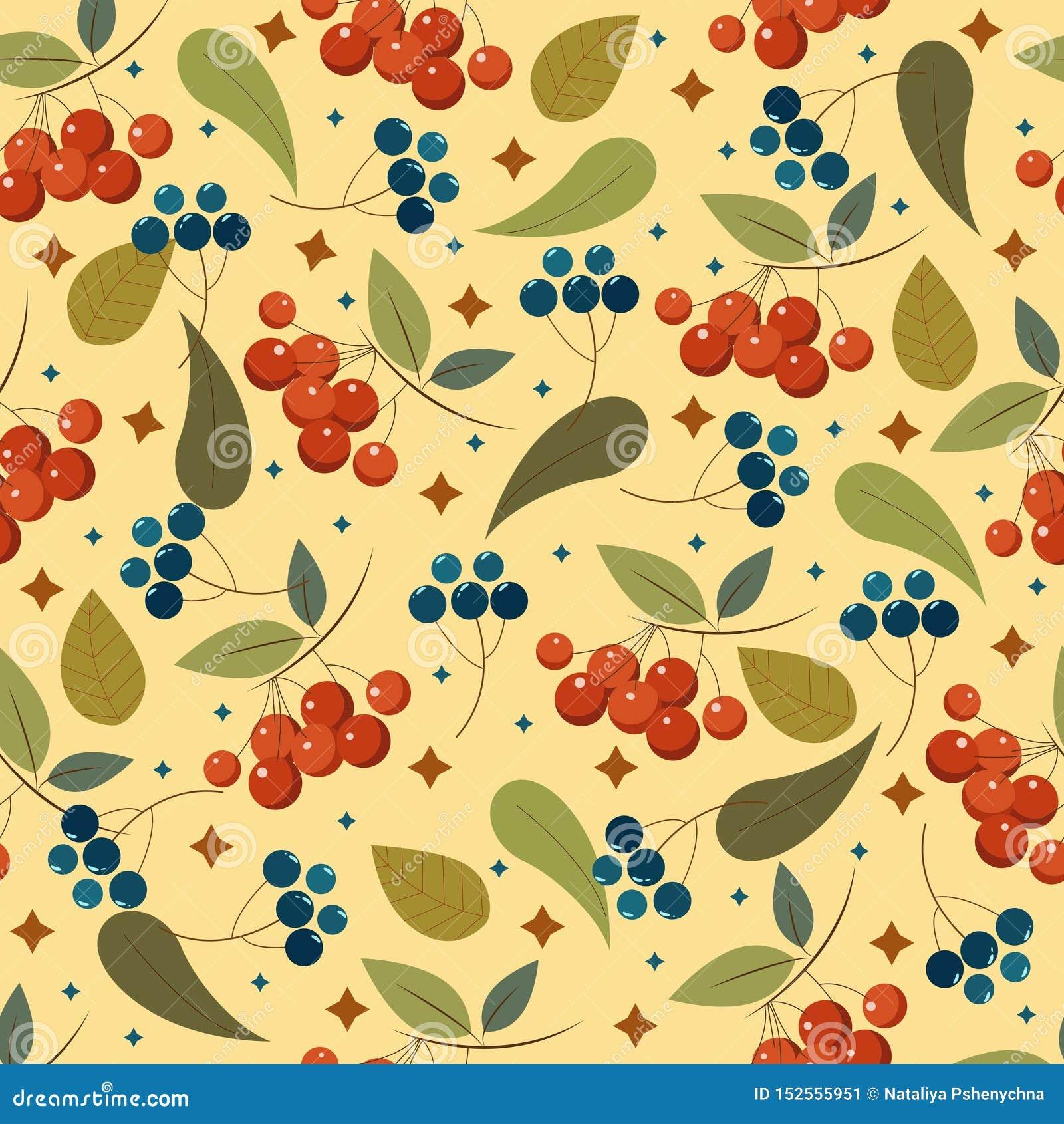 Bezszwowy wzór z jagodami i liśćmi Śliczny ornament dla twój projektów
