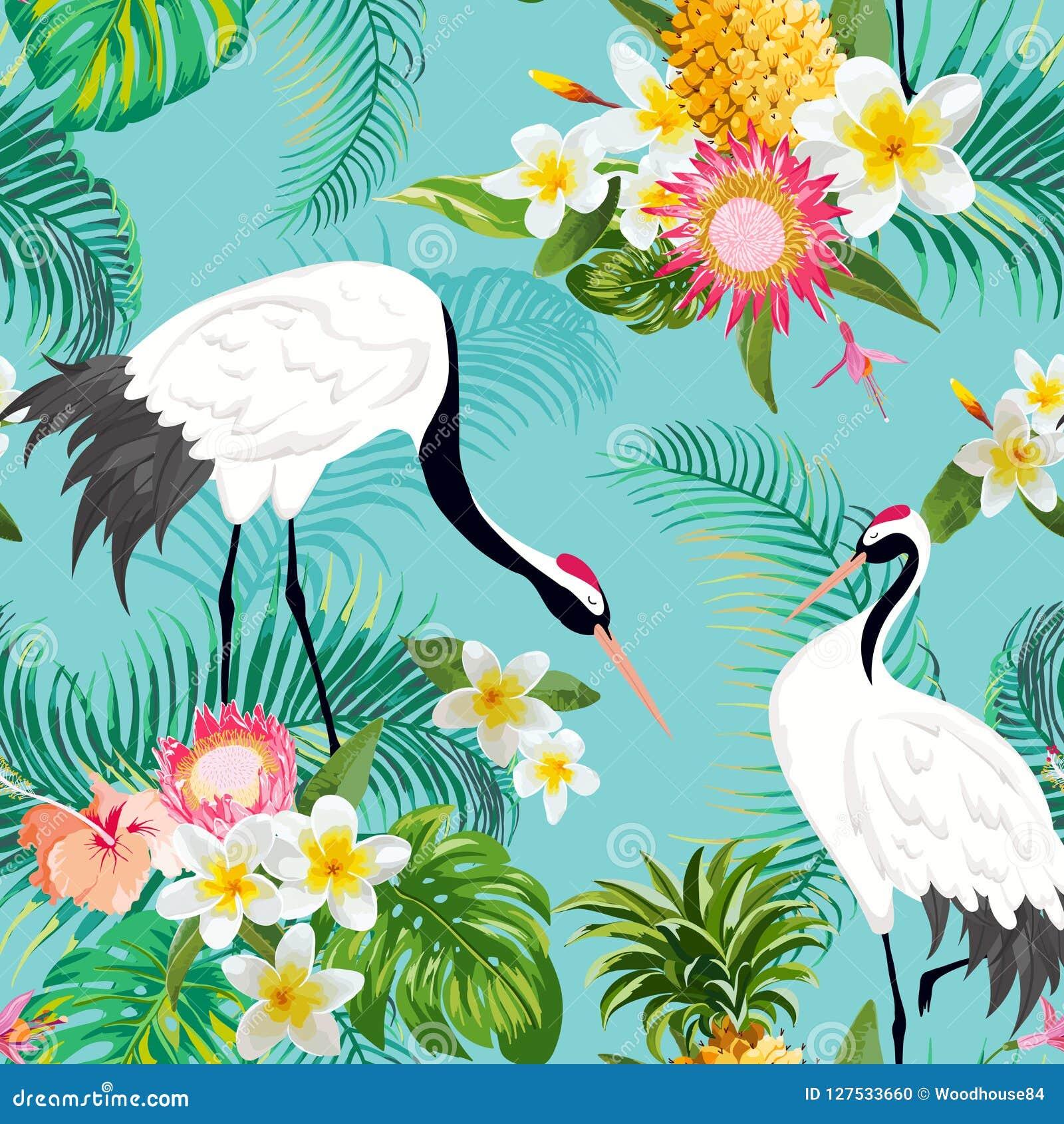 Bezszwowy wzór z Japońskimi żurawiami i Tropikalnymi kwiatami, Retro Kwiecisty tło, moda druk, Urodzinowy japończyk