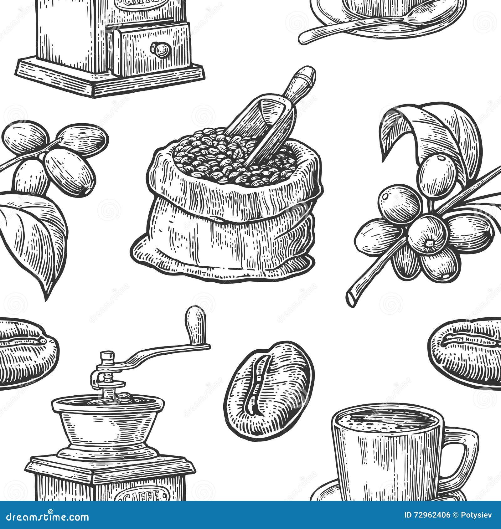 Bezszwowy wzór z kawą, fasolą i gałąź,