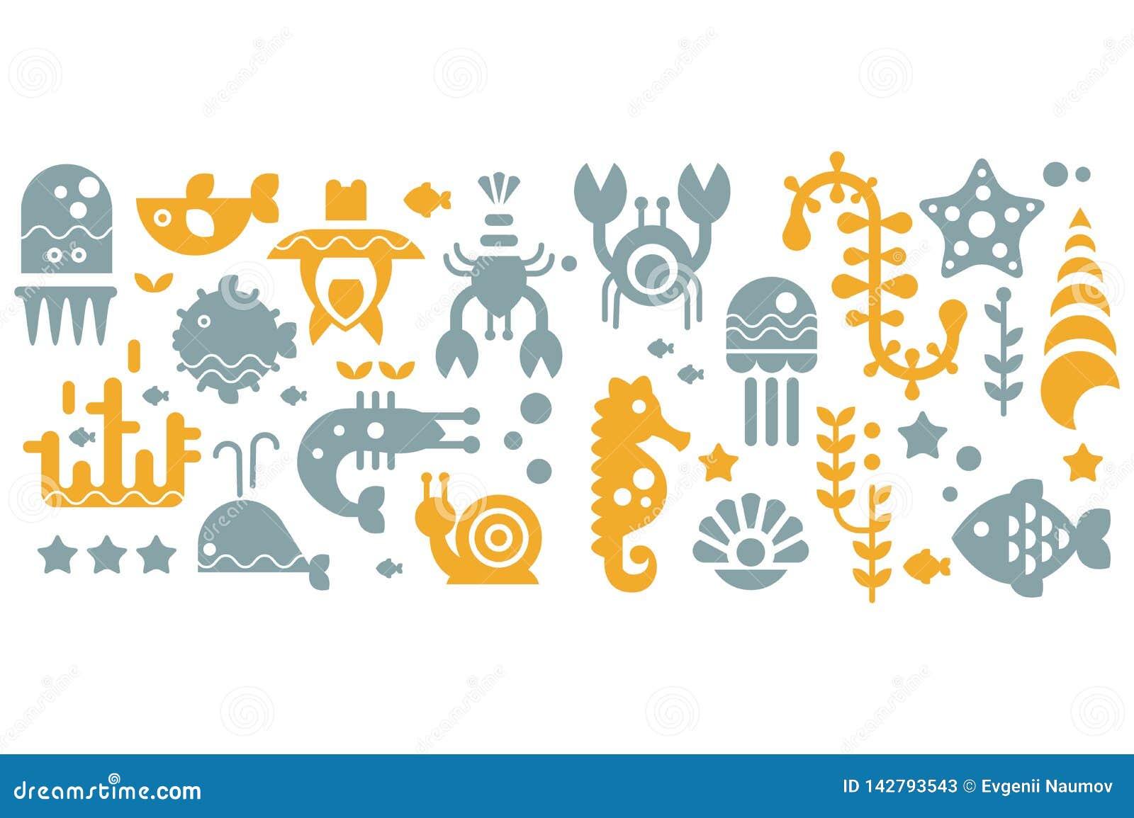 Bezszwowy wzór z kolorowymi dennymi istotami, kolorem żółtym i szarymi podwodnymi zwierzętami, wektorowe ilustracje