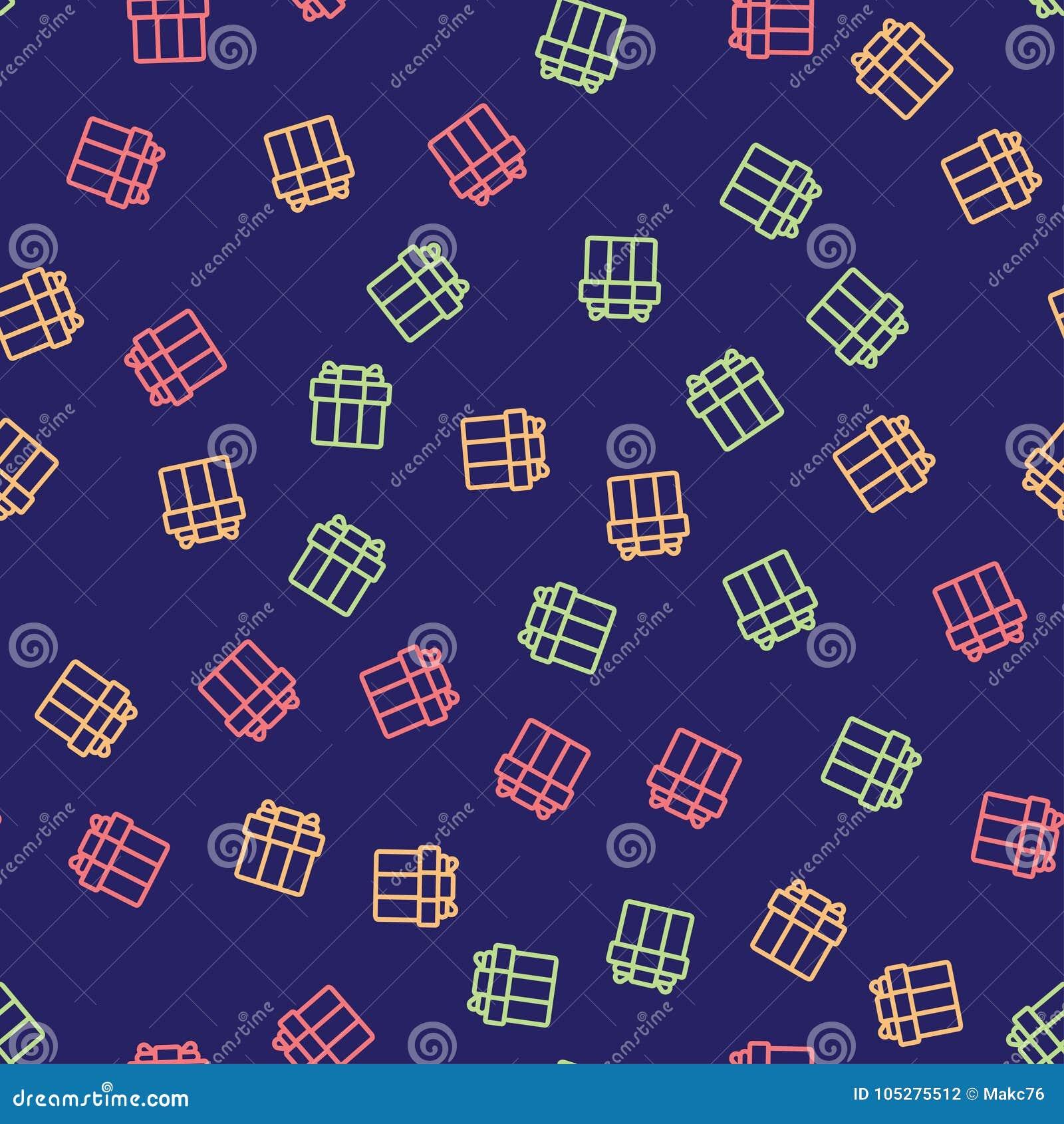 Bezszwowy wzór z kolorowymi prezentów pudełkami